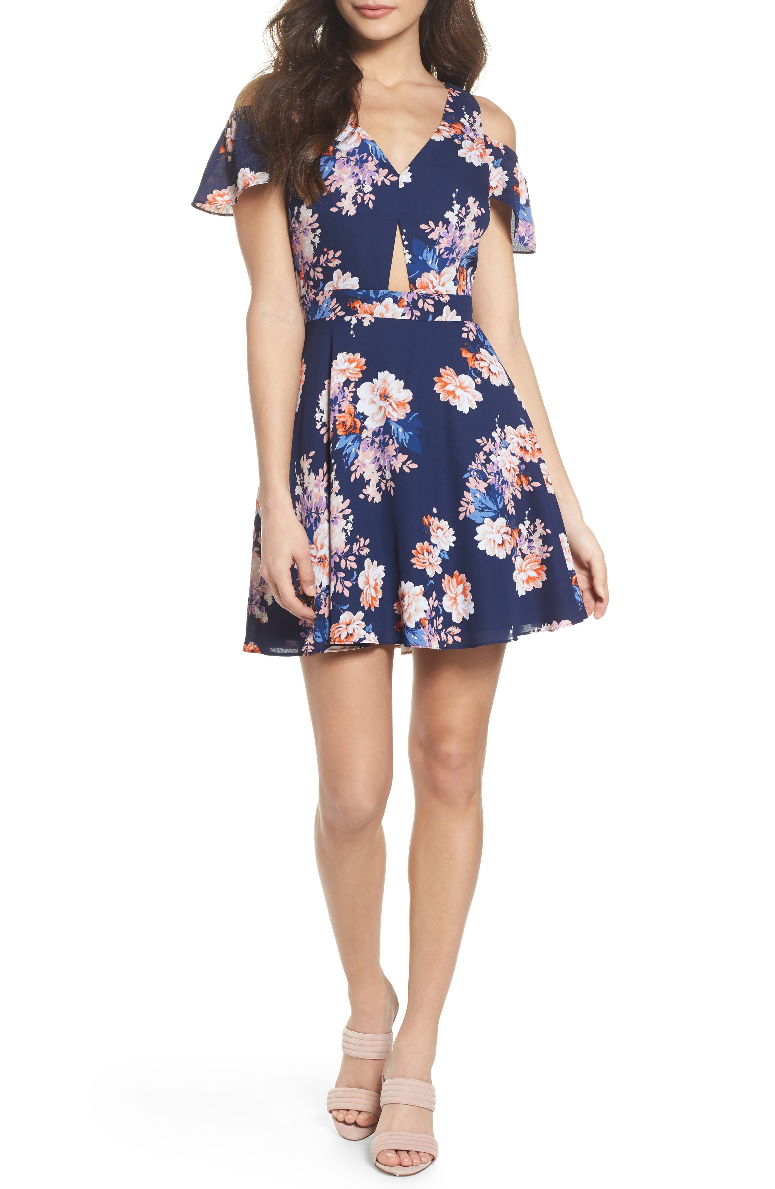 Chasing Butterflies Cold Shoulder Fit & Flare Dress,                             Main thumbnail 1, color,                             Navy Floral