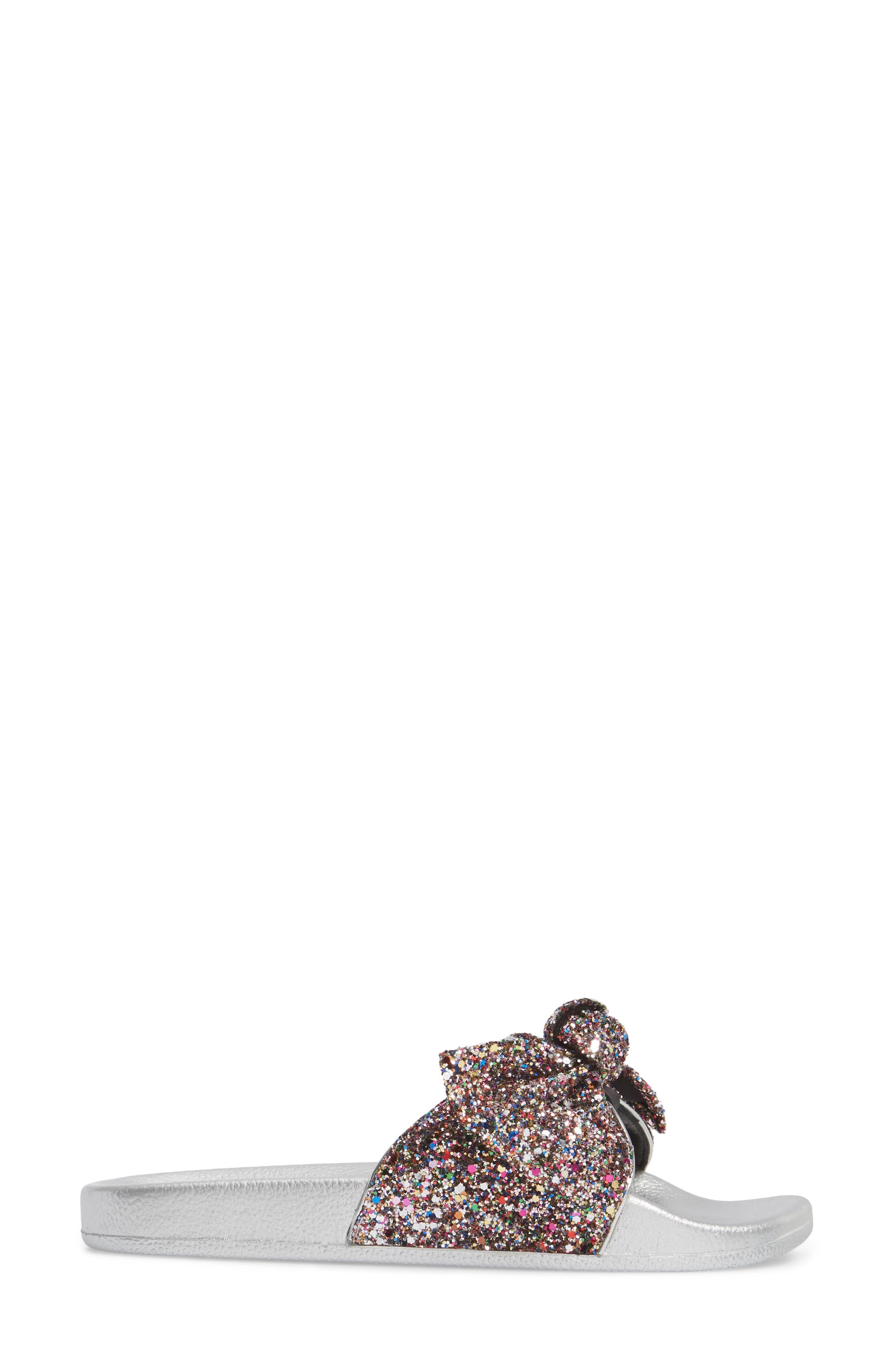 shellie slide sandal,                             Alternate thumbnail 3, color,                             Multi Glitter