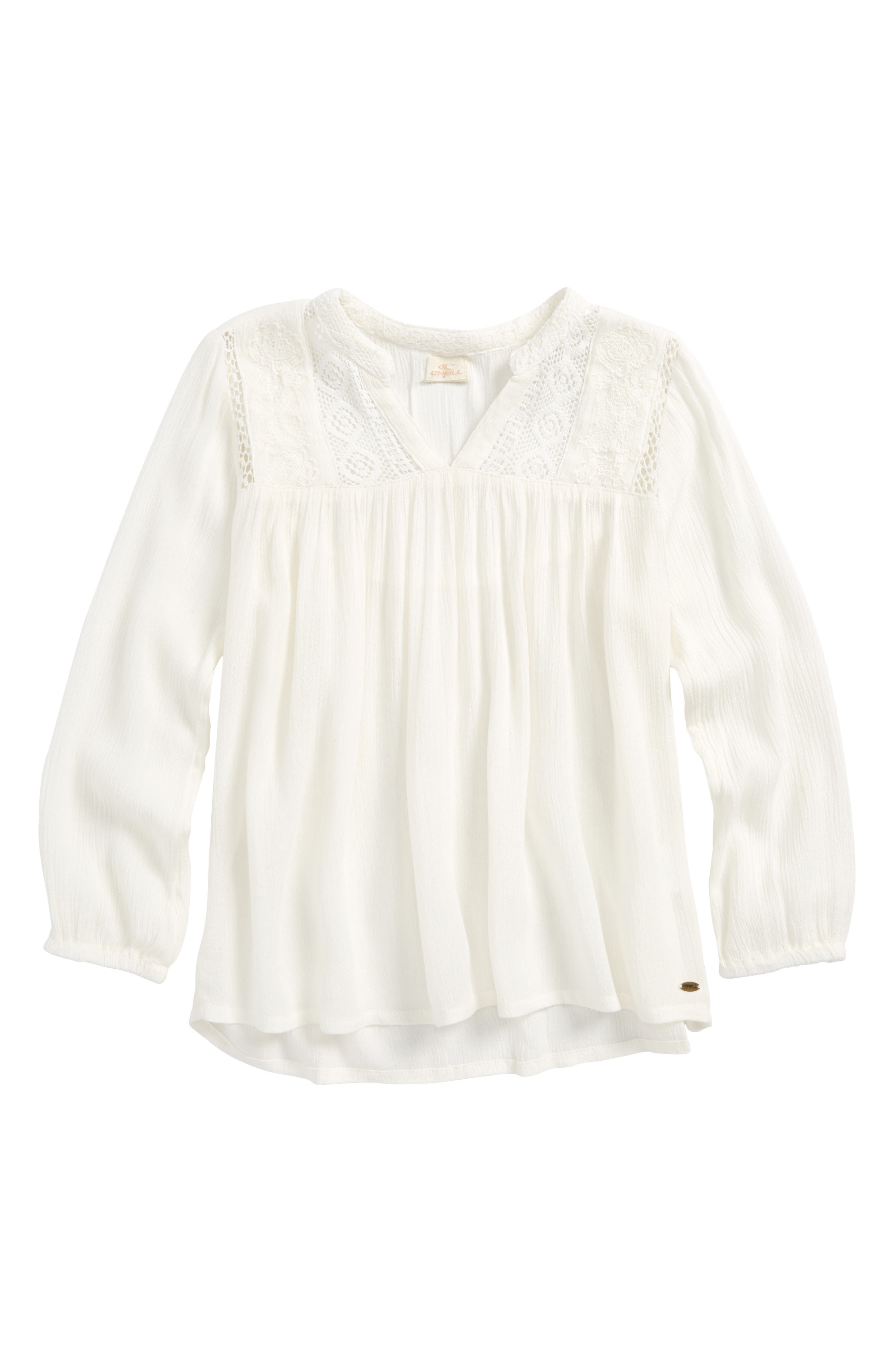Main Image - O'Neill Marion Embroidered Peasant Top (Big Girls)