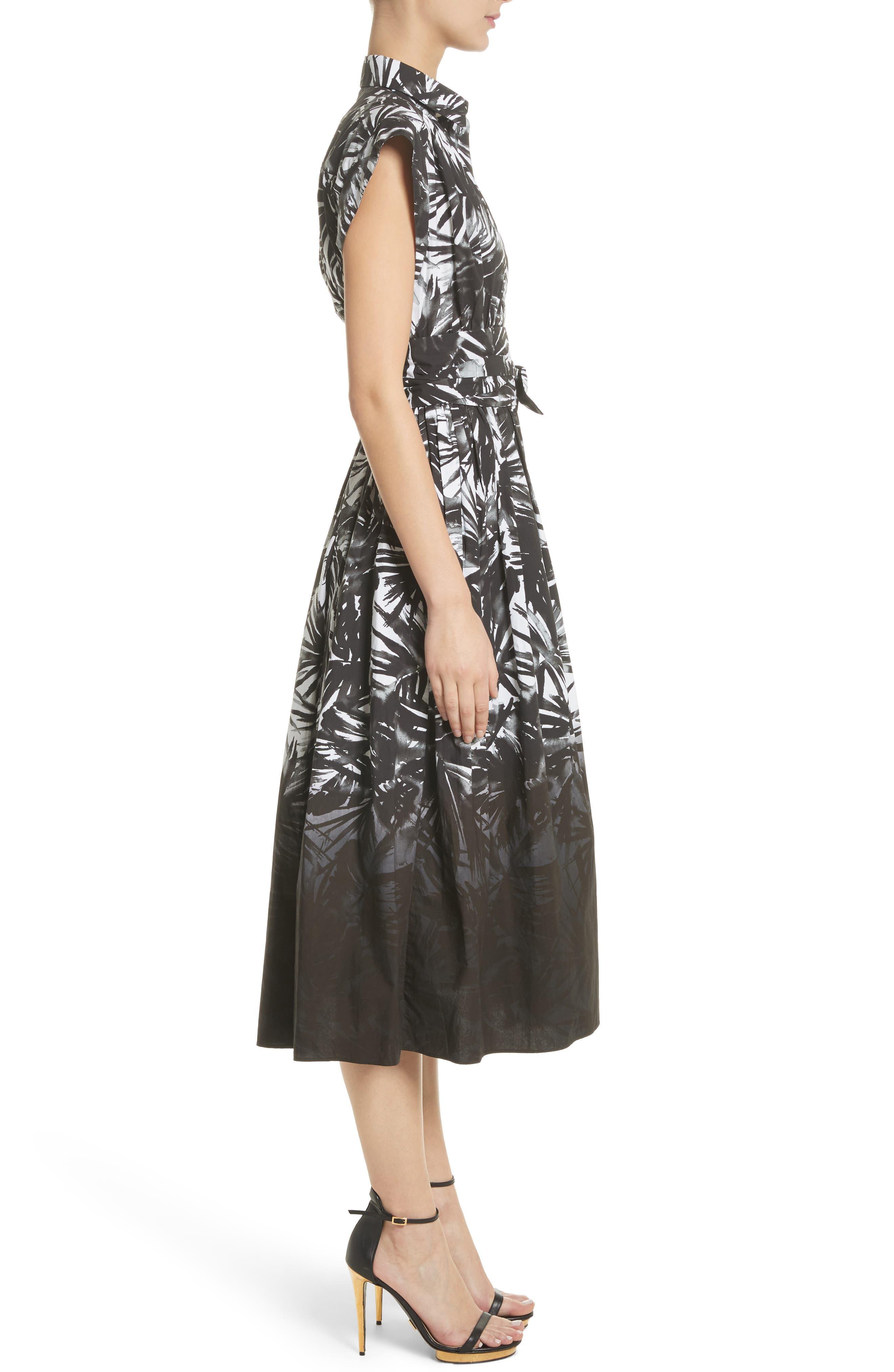 Dip Dye Wrap Waist Shirtdress,                             Alternate thumbnail 4, color,                             Black Multi