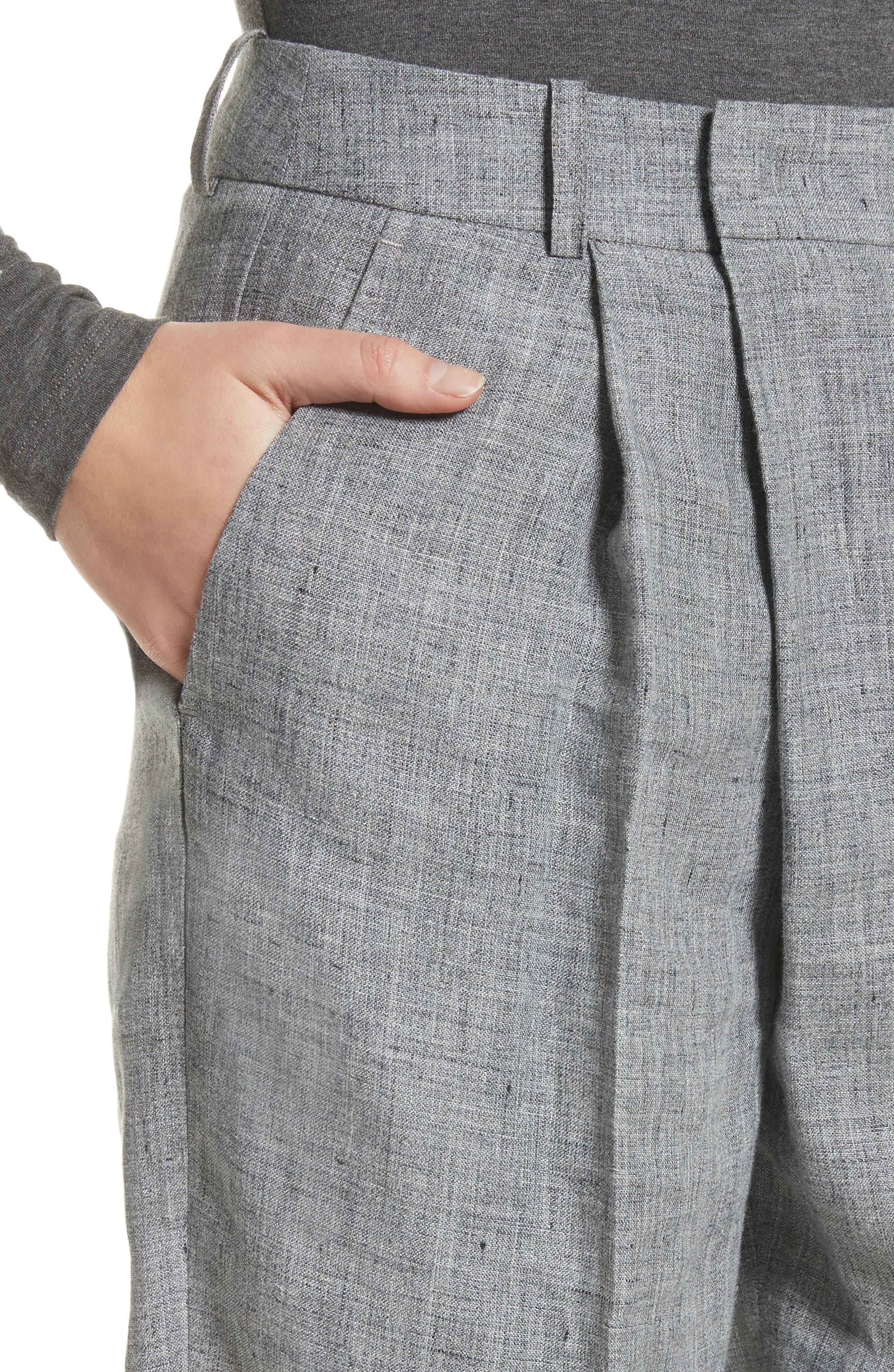 Cross Front Linen Crop Trousers,                             Alternate thumbnail 4, color,                             Banker Melange