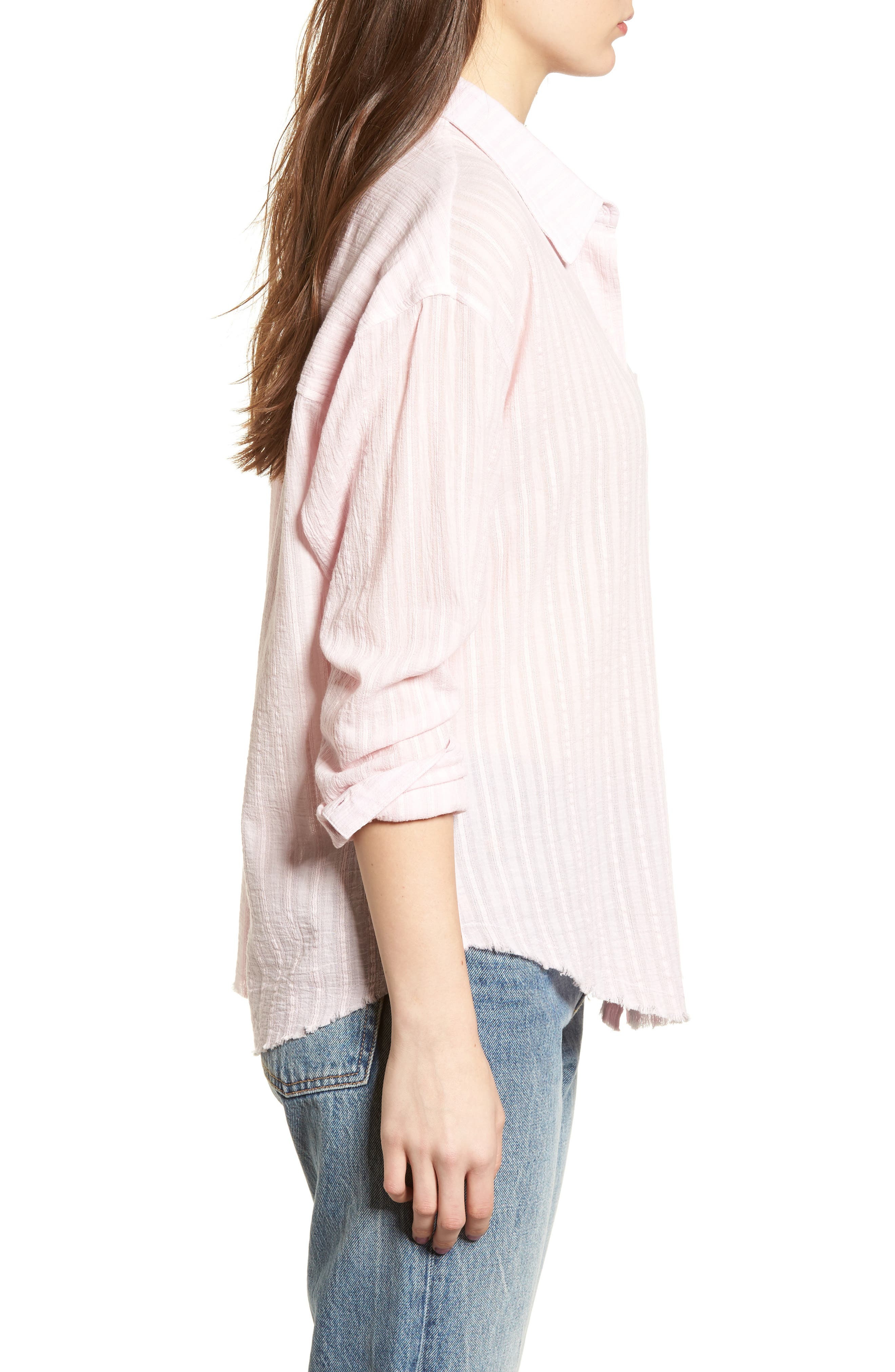 Raw Hem Shirt,                             Alternate thumbnail 3, color,                             Light Pink