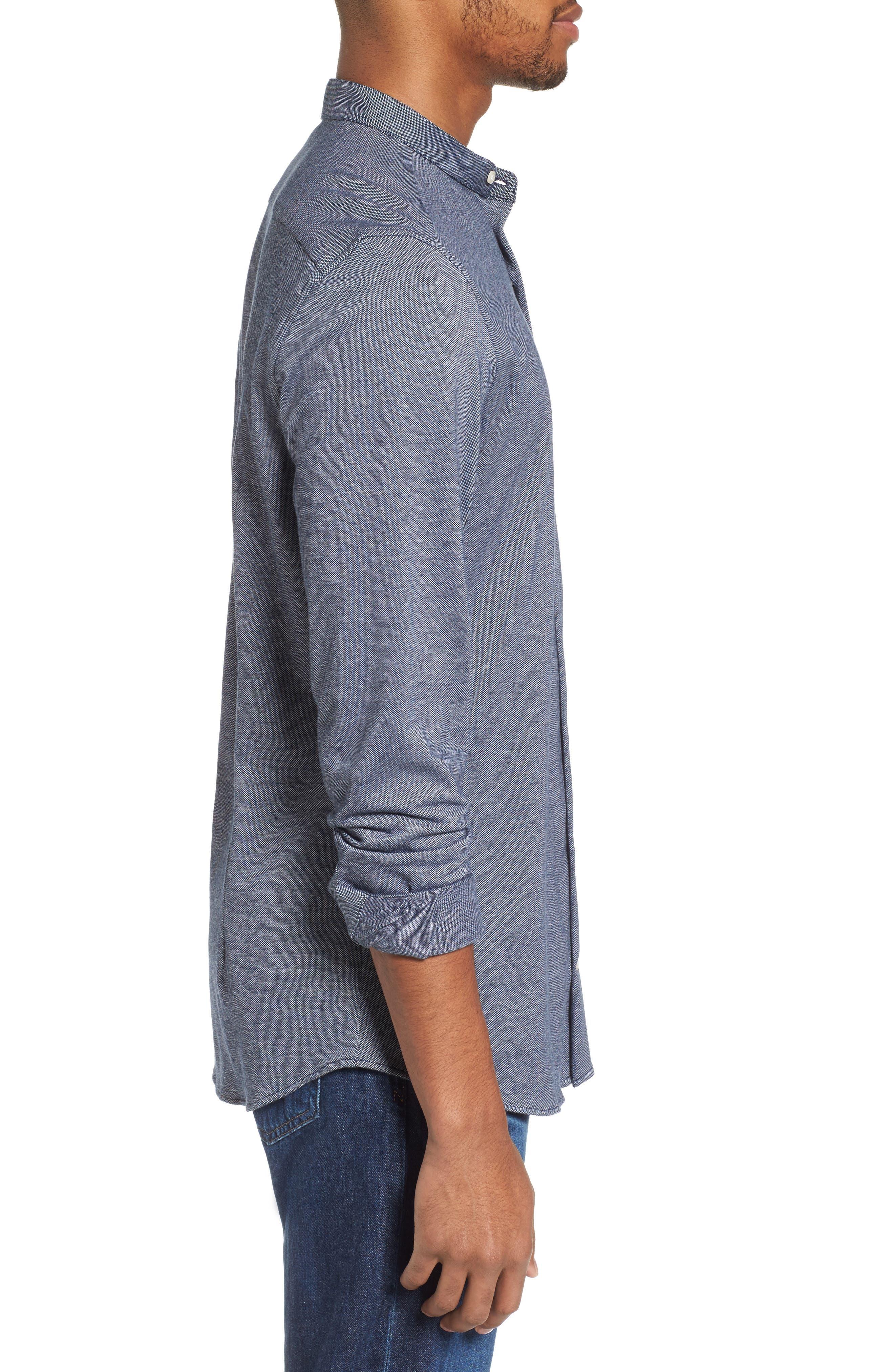 Scafell Regular Fit Solid Sport Shirt,                             Alternate thumbnail 3, color,                             Navy