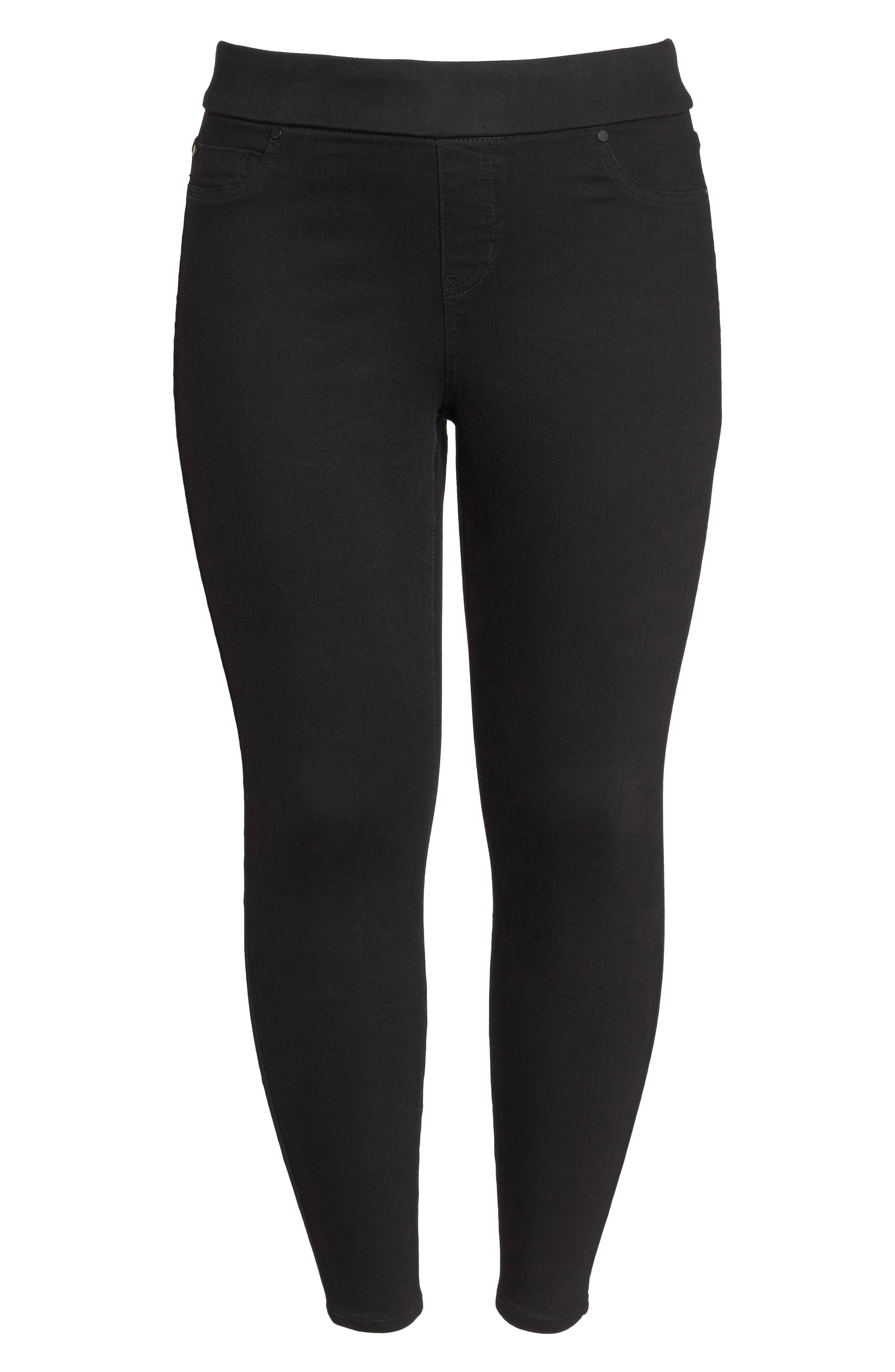 Sienna Pull-On Skinny Ankle Jeans,                             Alternate thumbnail 6, color,                             Black Rinse