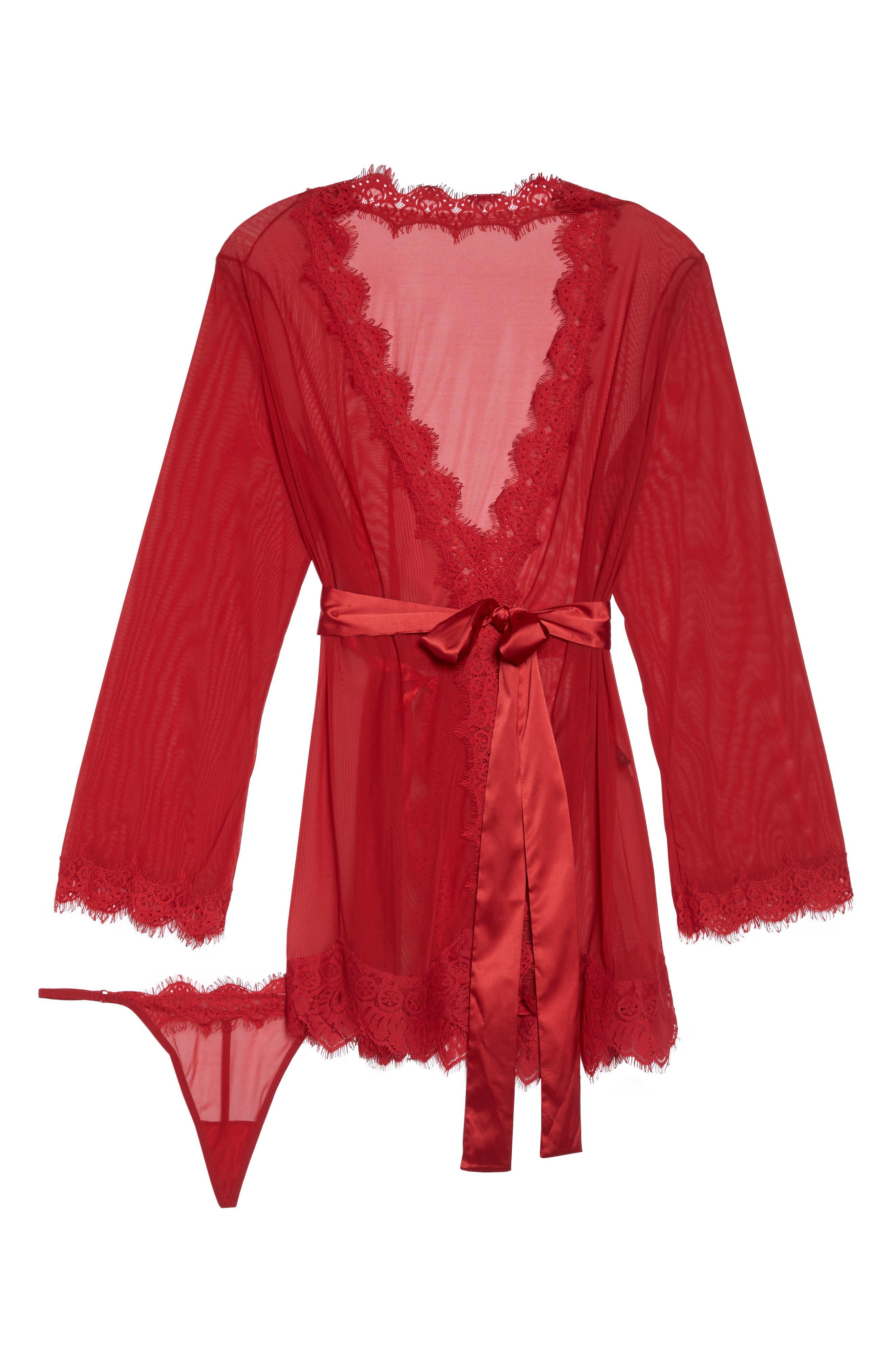 Alternate Image 4  - Oh La La Cheri Eyelash Lace Robe & G-String (Plus Size)