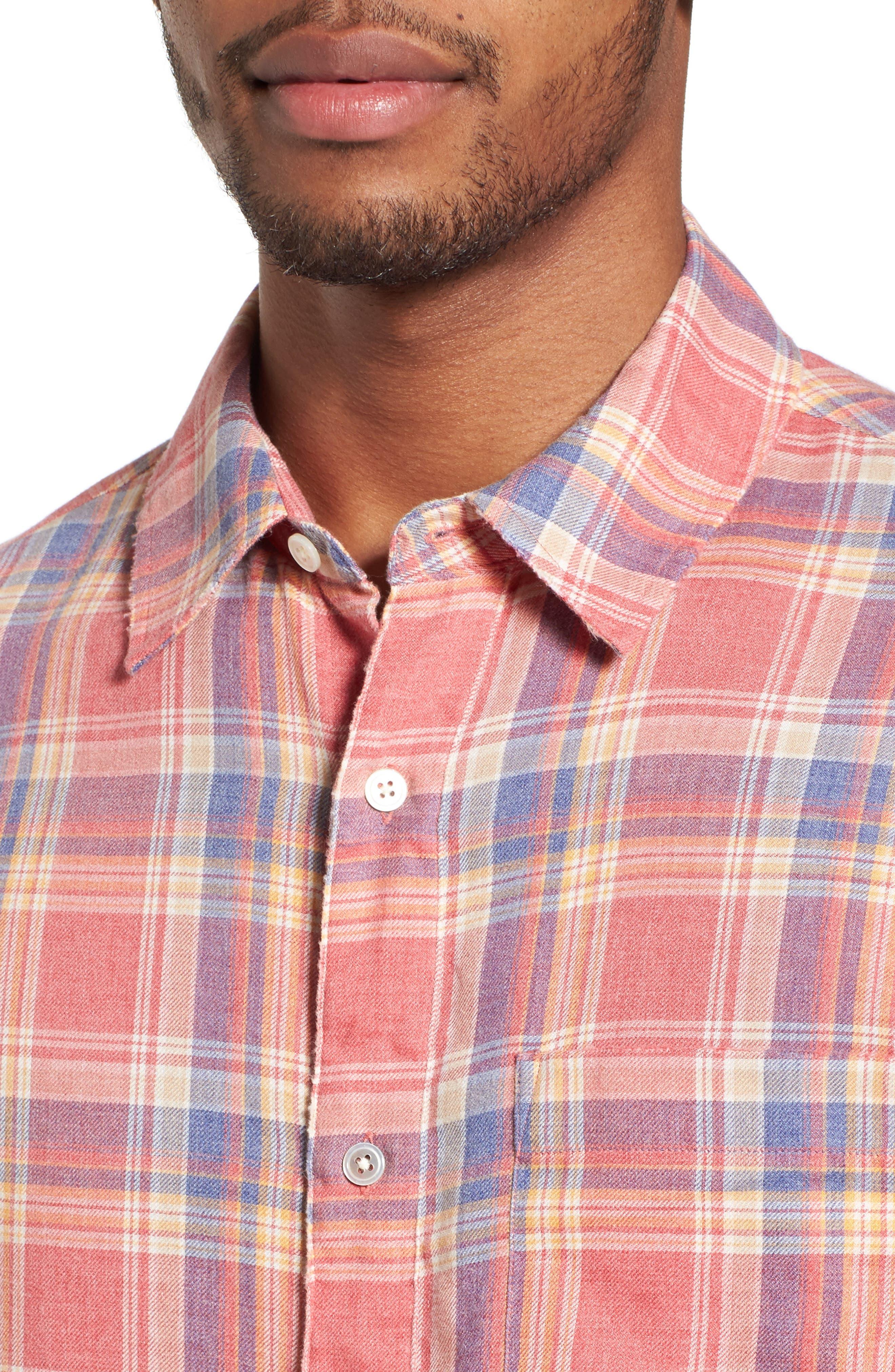 Fray Hem Plaid Flannel Shirt,                             Alternate thumbnail 4, color,                             Dark Pink Check