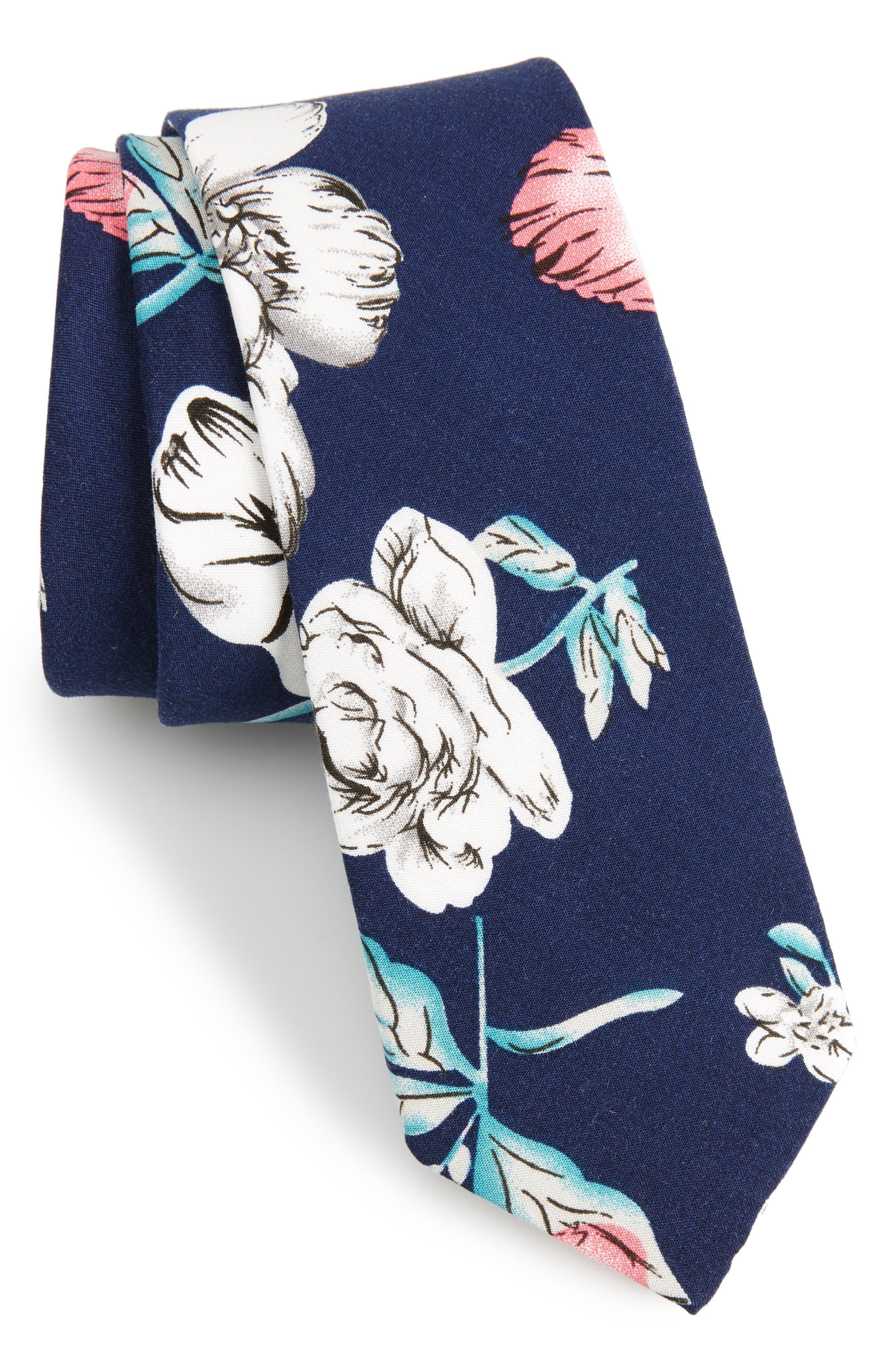 1901 Cherbury Floral Cotton Tie,                         Main,                         color, Navy