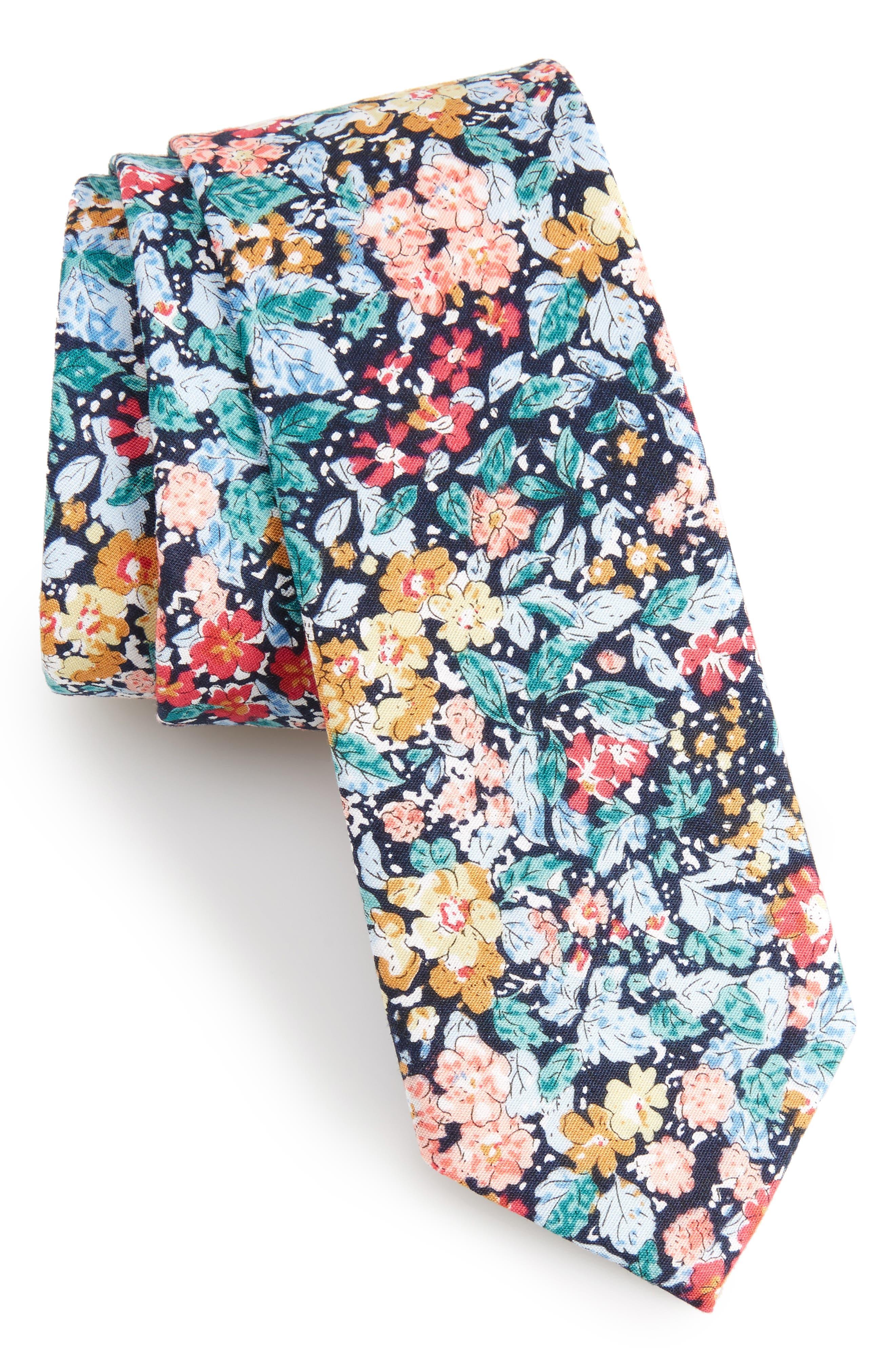 Raglan Floral Cotton Skinny Tie,                         Main,                         color, Navy