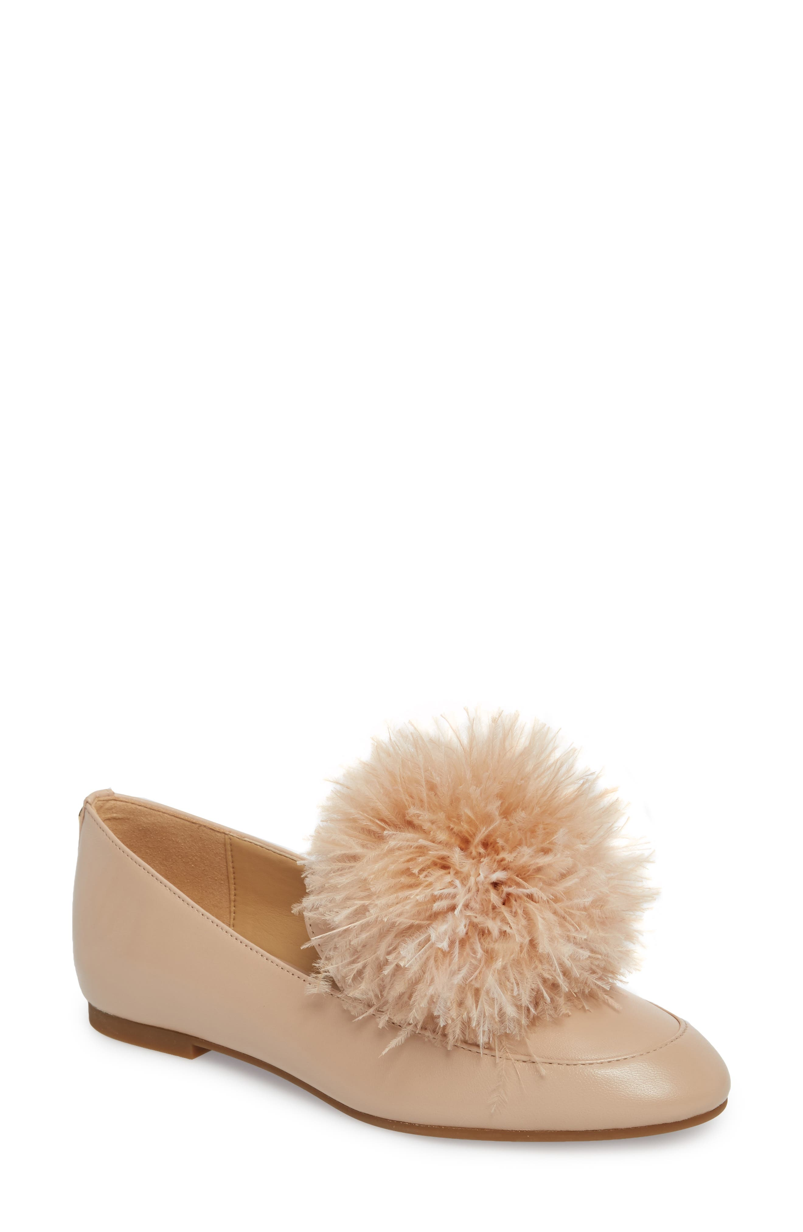 Fara Feather Pom Loafer,                             Main thumbnail 1, color,                             Oyster Nappa Leather