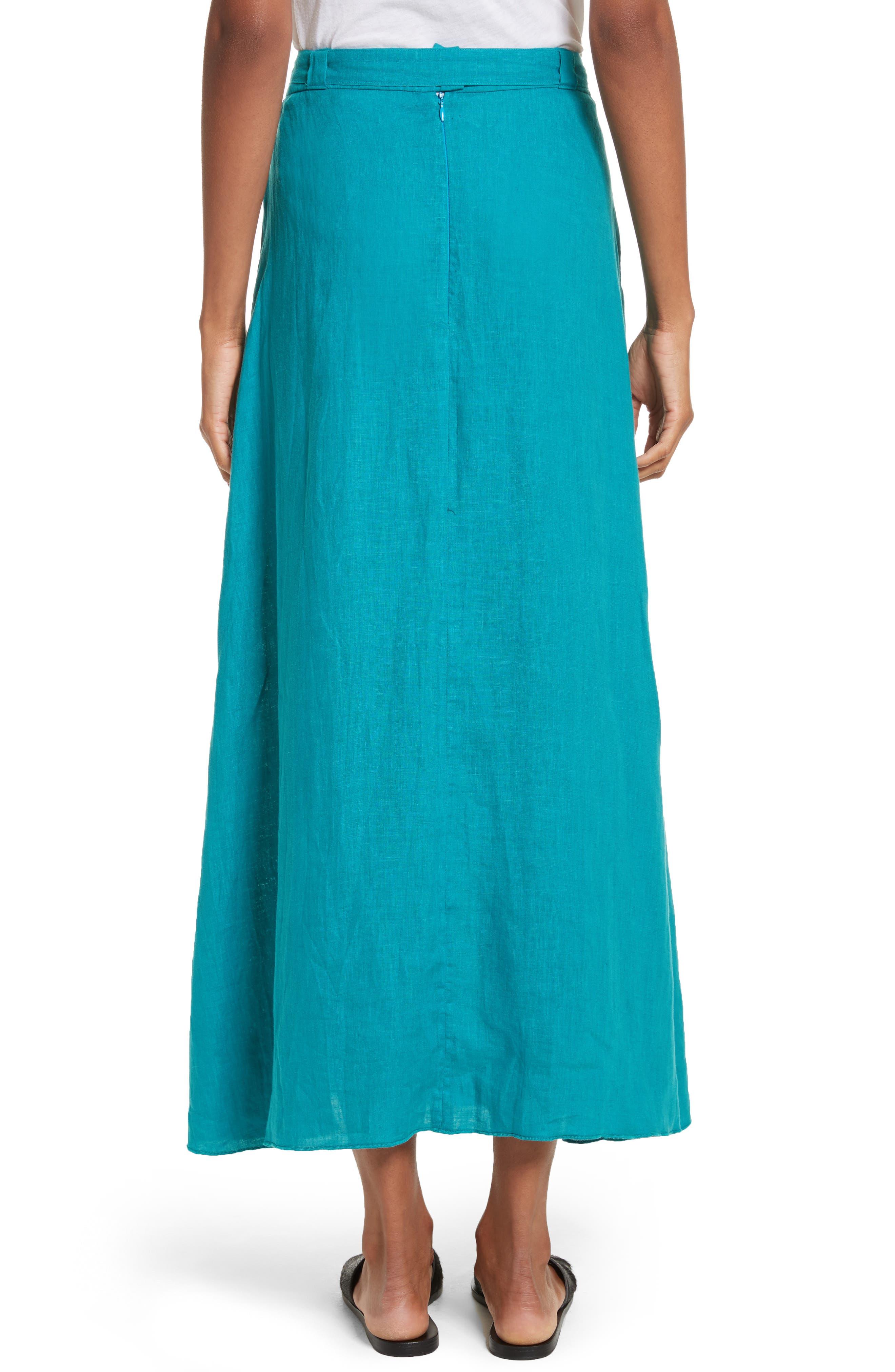 Delta Tie Waist Linen Skirt,                             Alternate thumbnail 2, color,                             Peacock