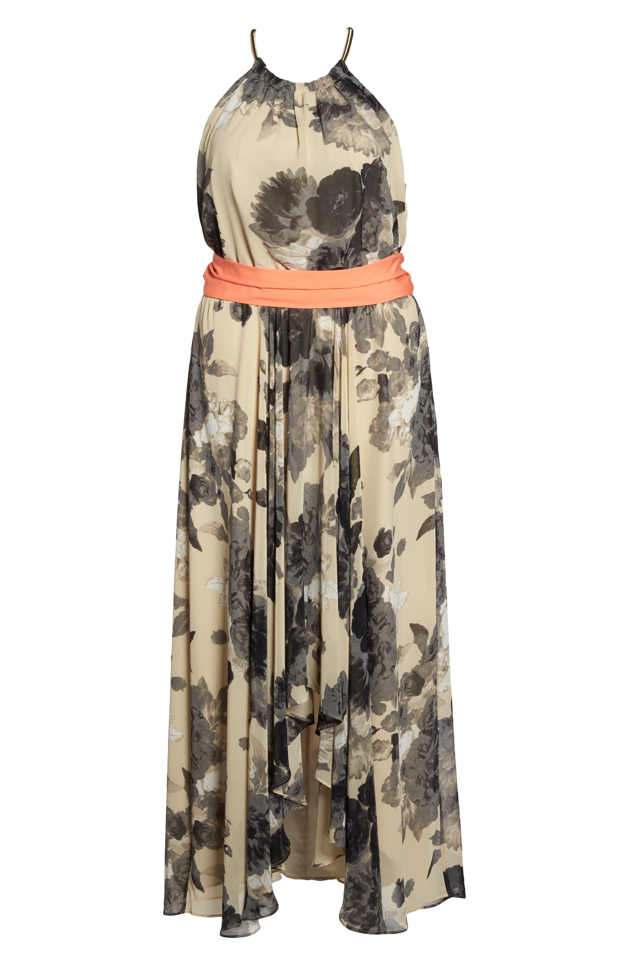 Floral Print Chiffon High/Low Dress,                             Alternate thumbnail 7, color,                             Taupe