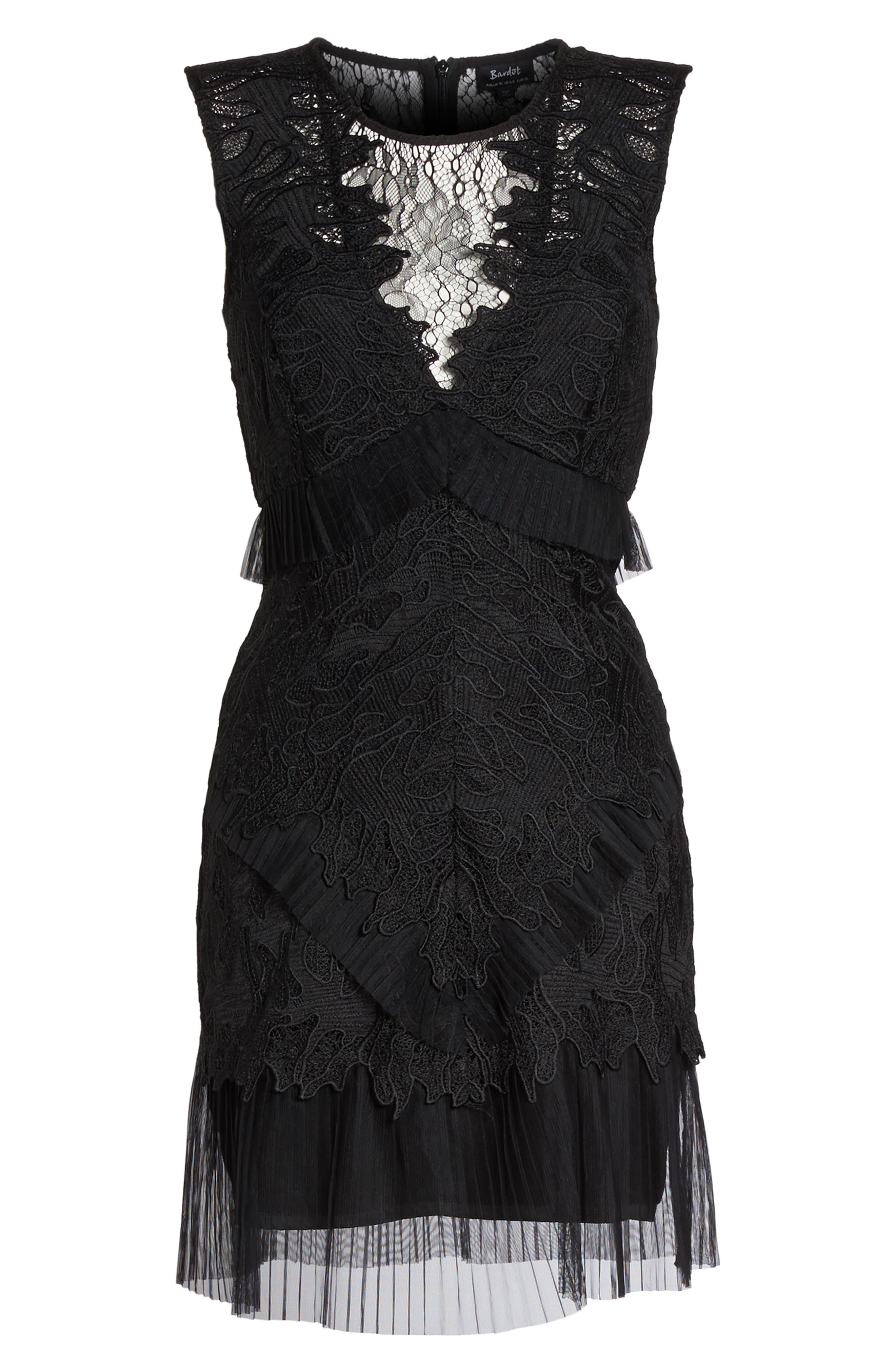 Ruffle Trim Lace Sheath Dress,                             Alternate thumbnail 7, color,                             Black