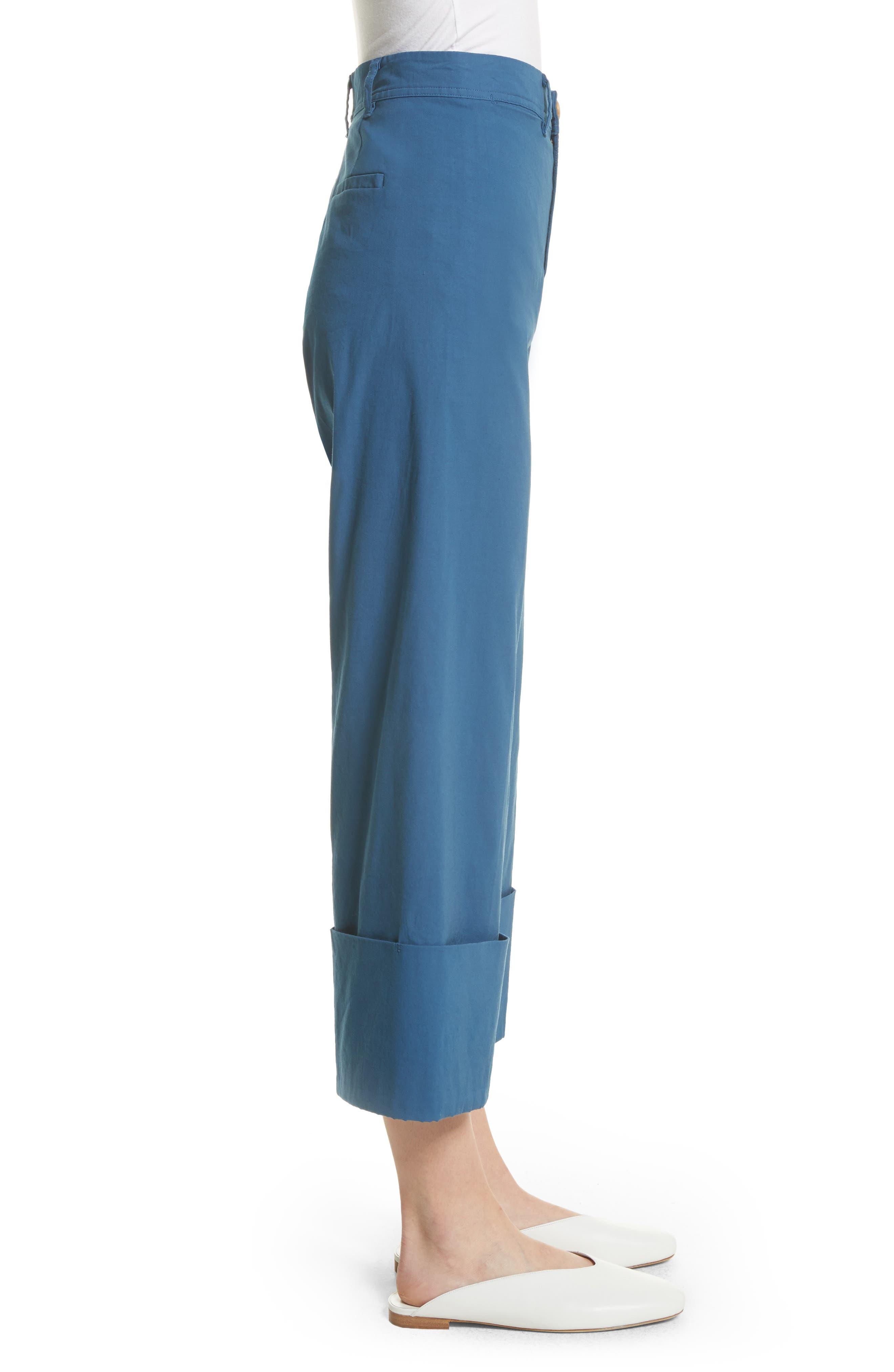 Winona Cuff Wide Leg Pants,                             Alternate thumbnail 3, color,                             Blue
