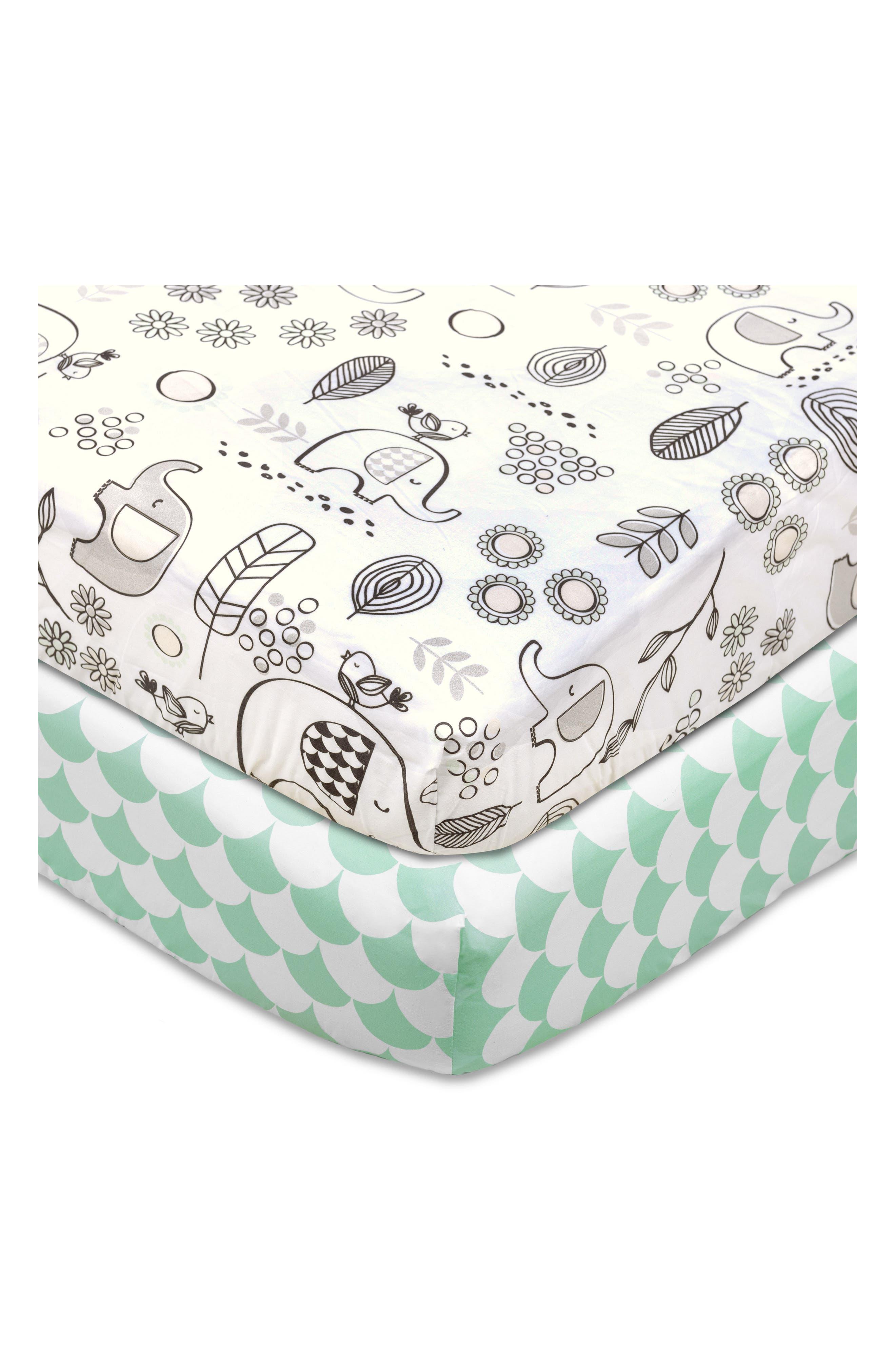 Kayden 200 Thread Count Set of 2 Fitted Crib Sheets,                         Main,                         color, Kayden Elle Elephant