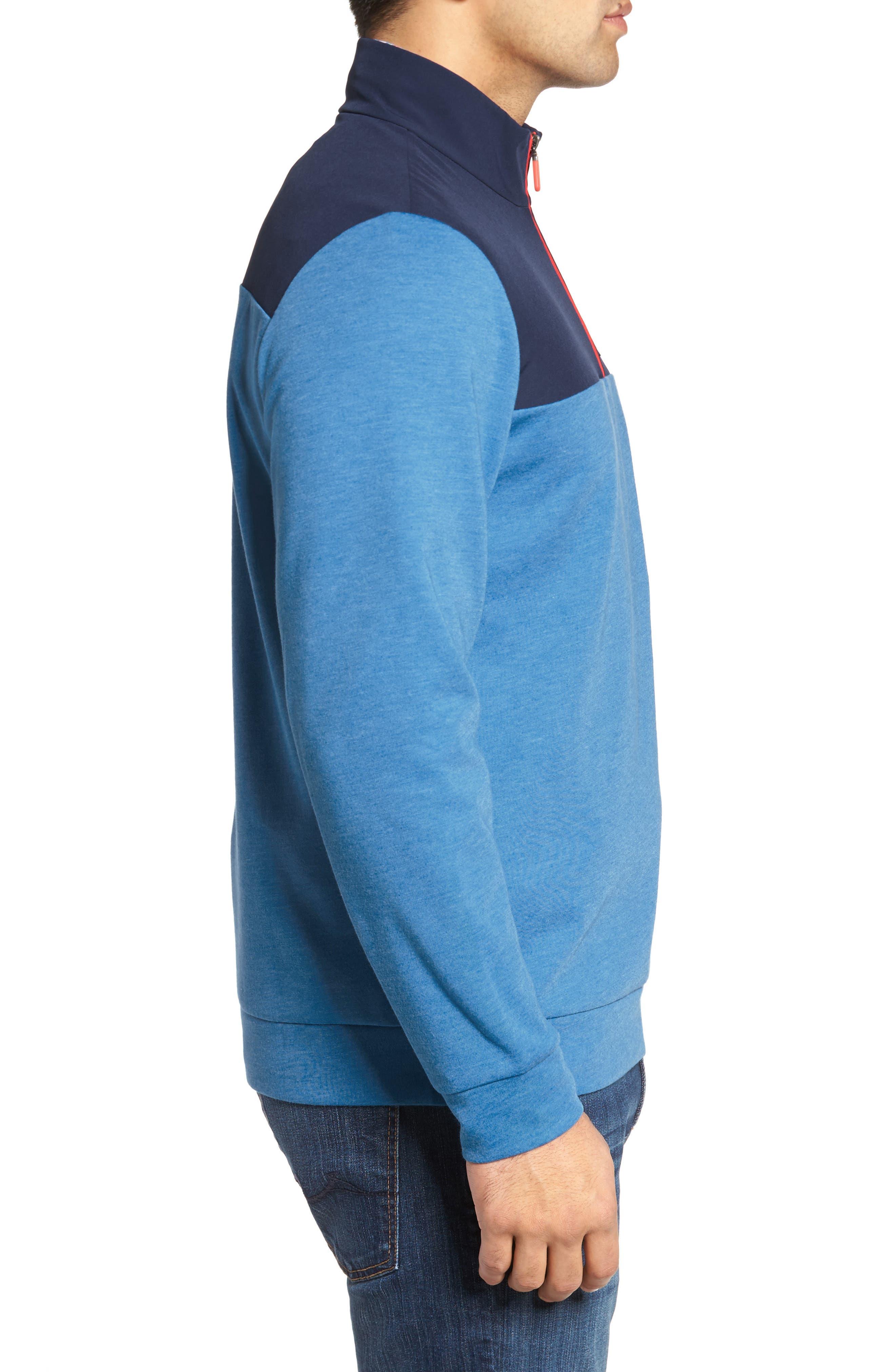 Shep Mesh Performance Yoke Quarter Zip Pullover,                             Alternate thumbnail 3, color,                             Hull Blue