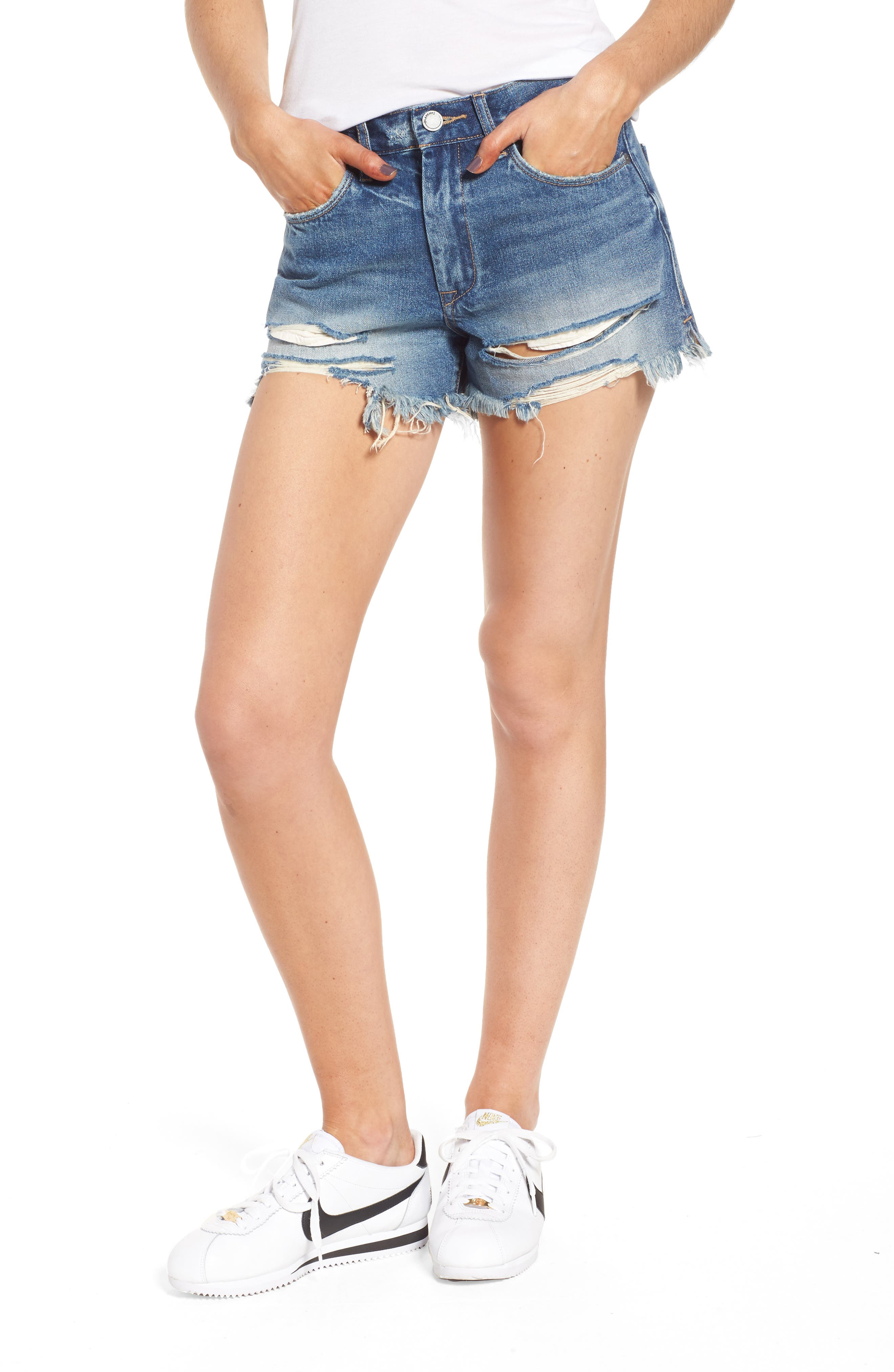 Pin-Up Distressed Denim Shorts,                         Main,                         color, Poster Child
