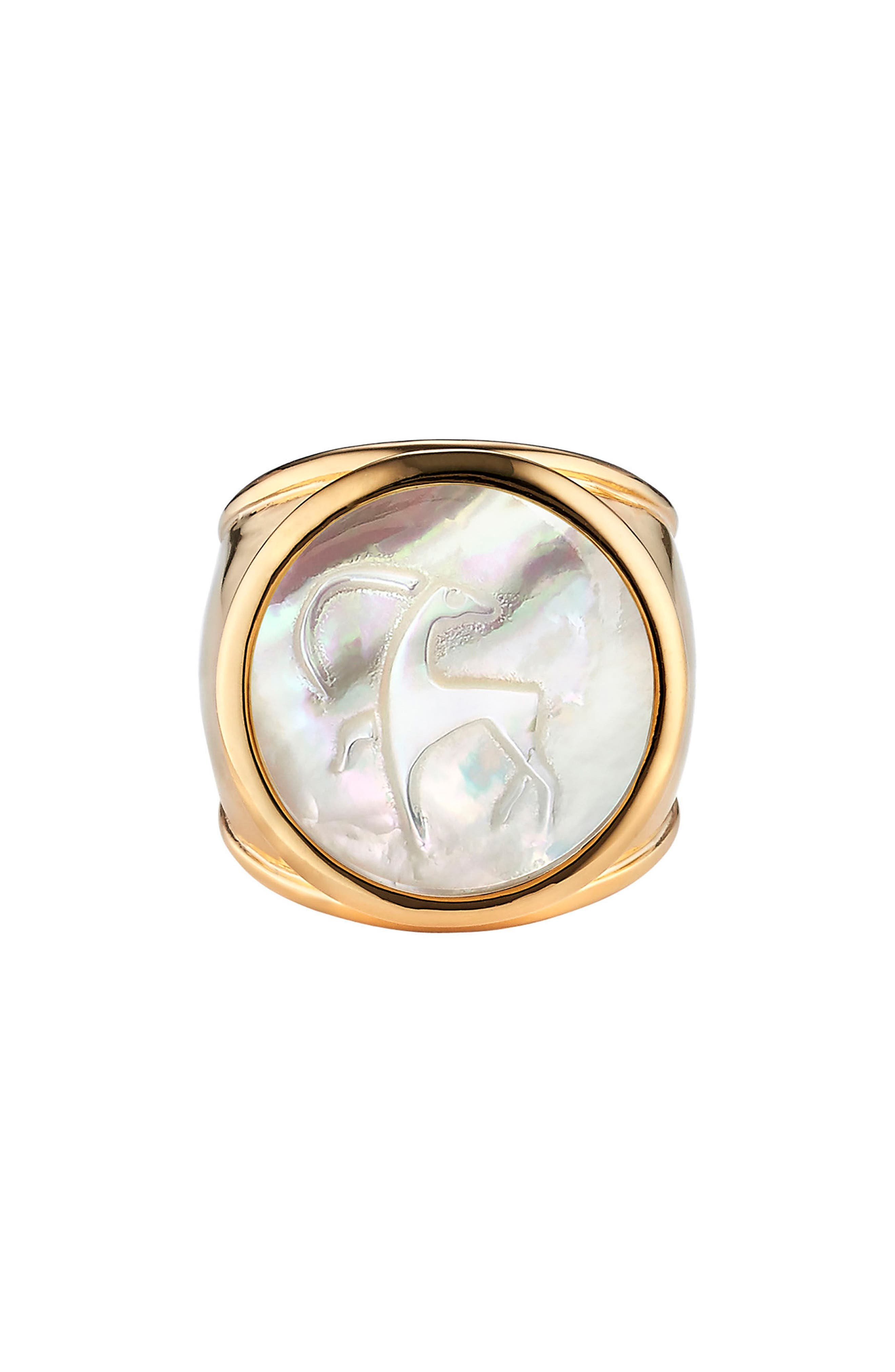 Zodiac Mother-of-Pearl Ring,                         Main,                         color, Capricorn - 7