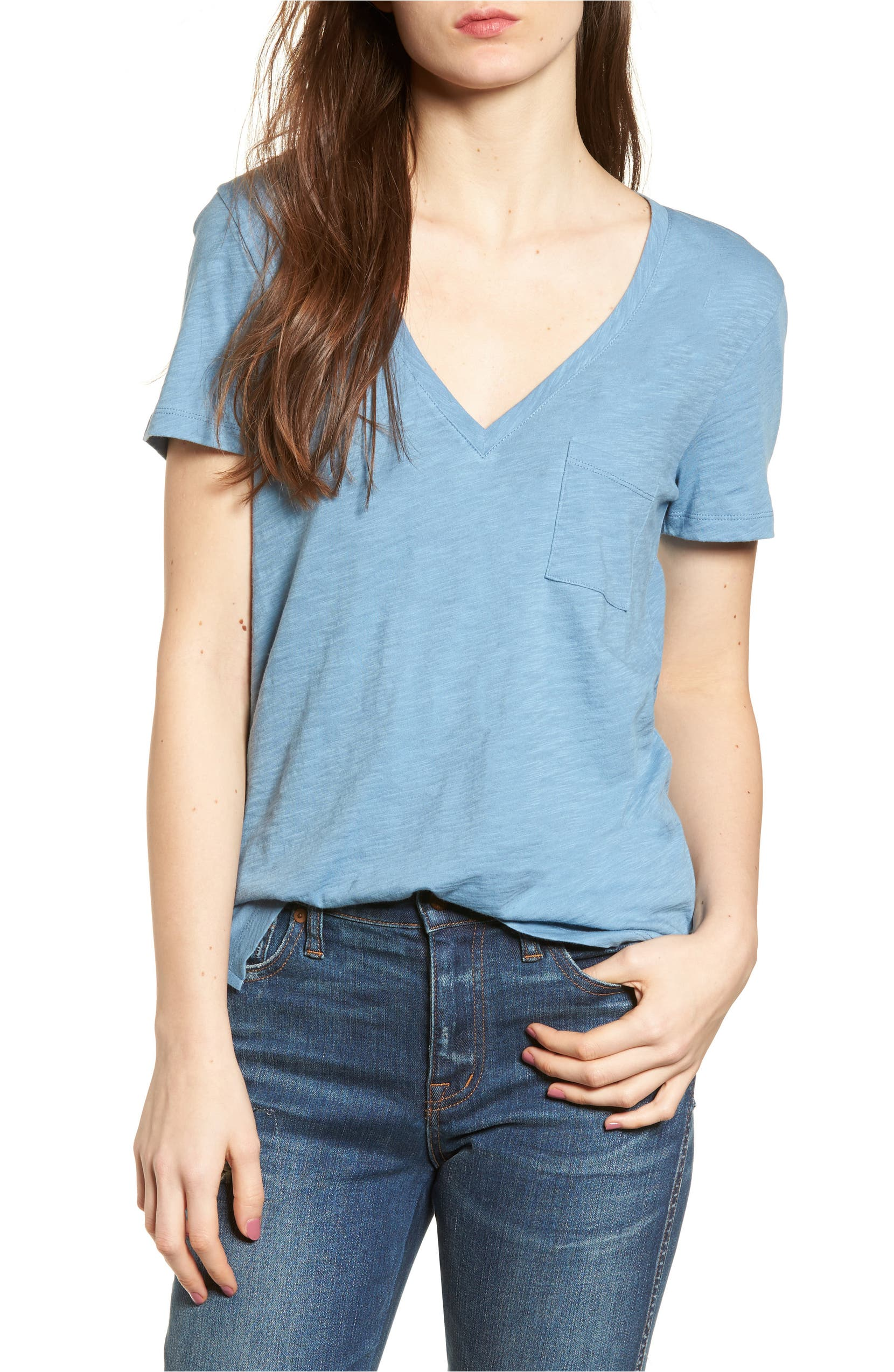 Whisper Cotton V-Neck Pocket Tee,                         Main,                         color, Tranquil Ocean
