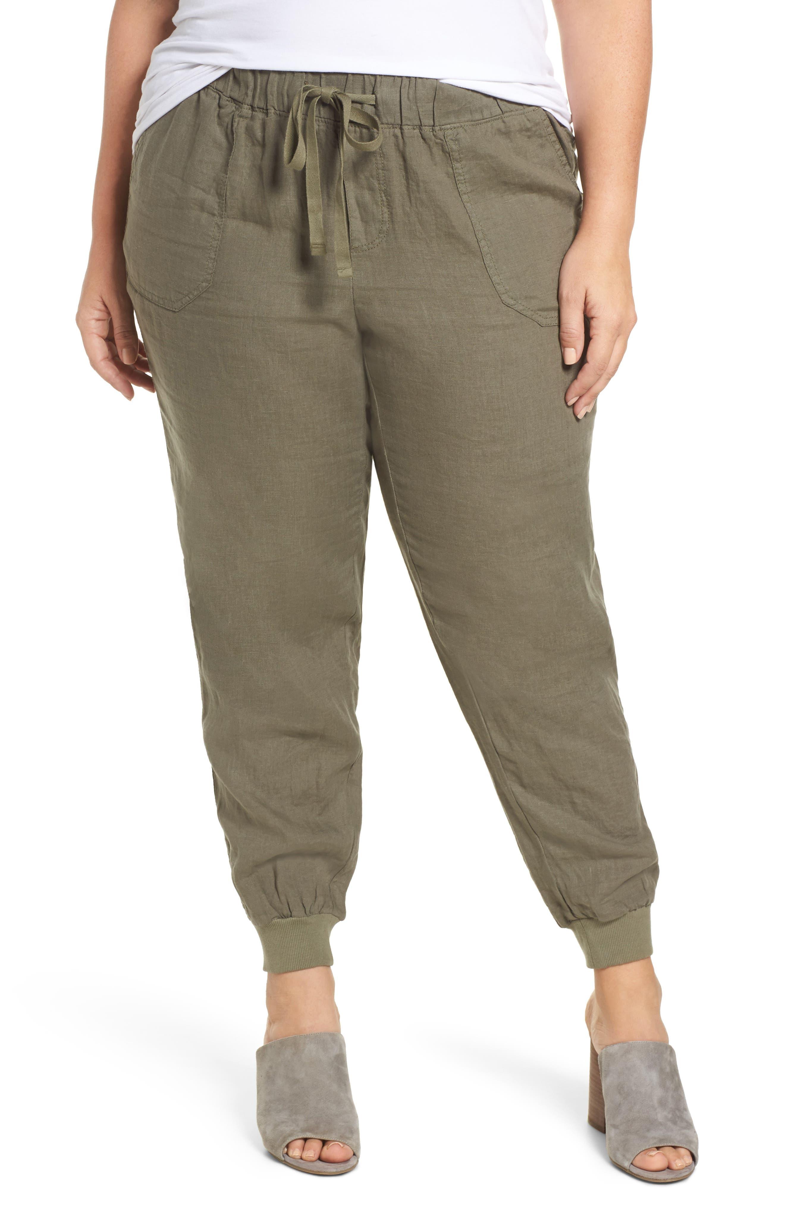 Caslon® Drawstring Linen Joggers (Plus Size)