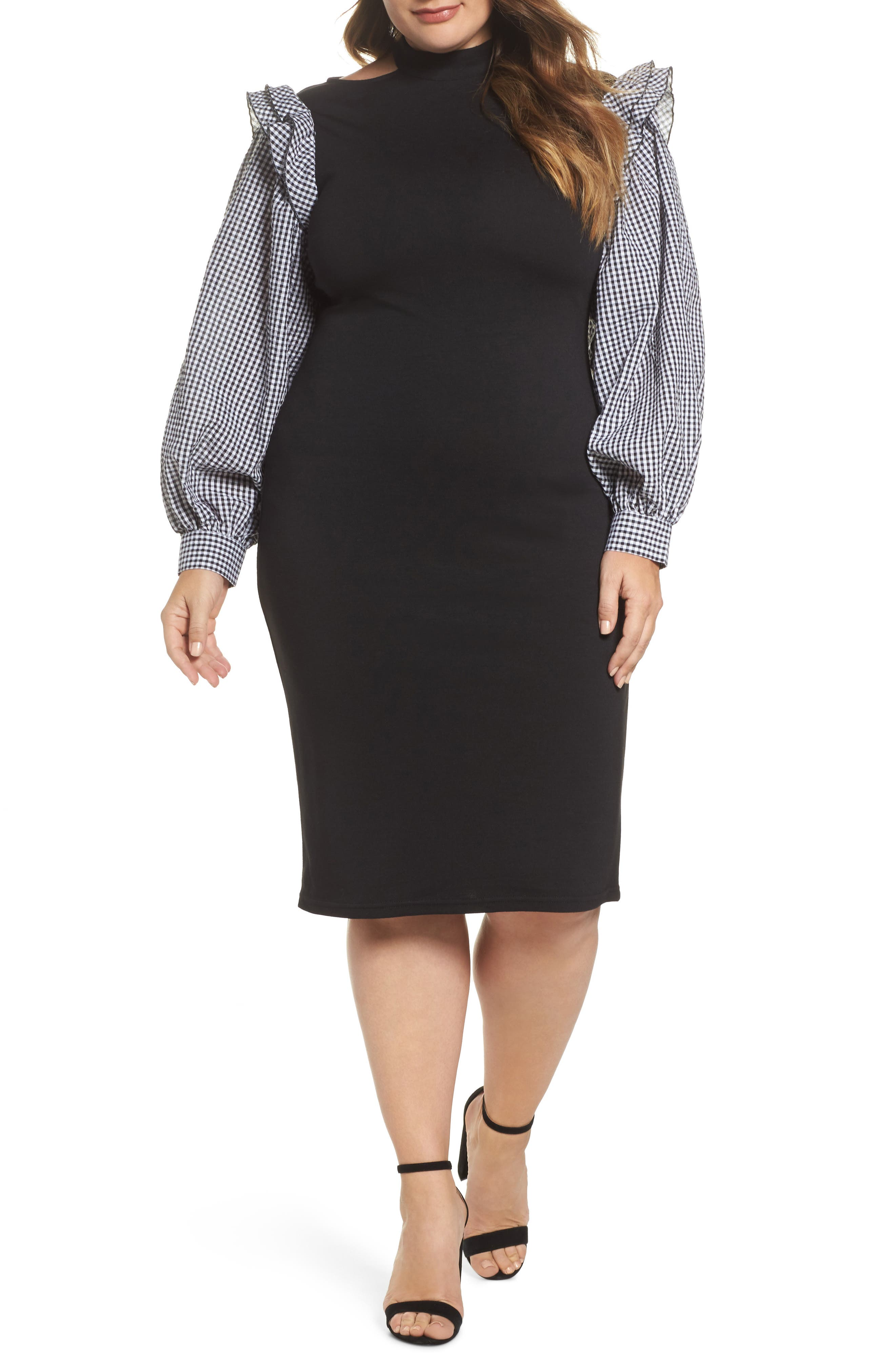 Gingham Sleeve Body-Con Dress,                             Main thumbnail 1, color,                             Black