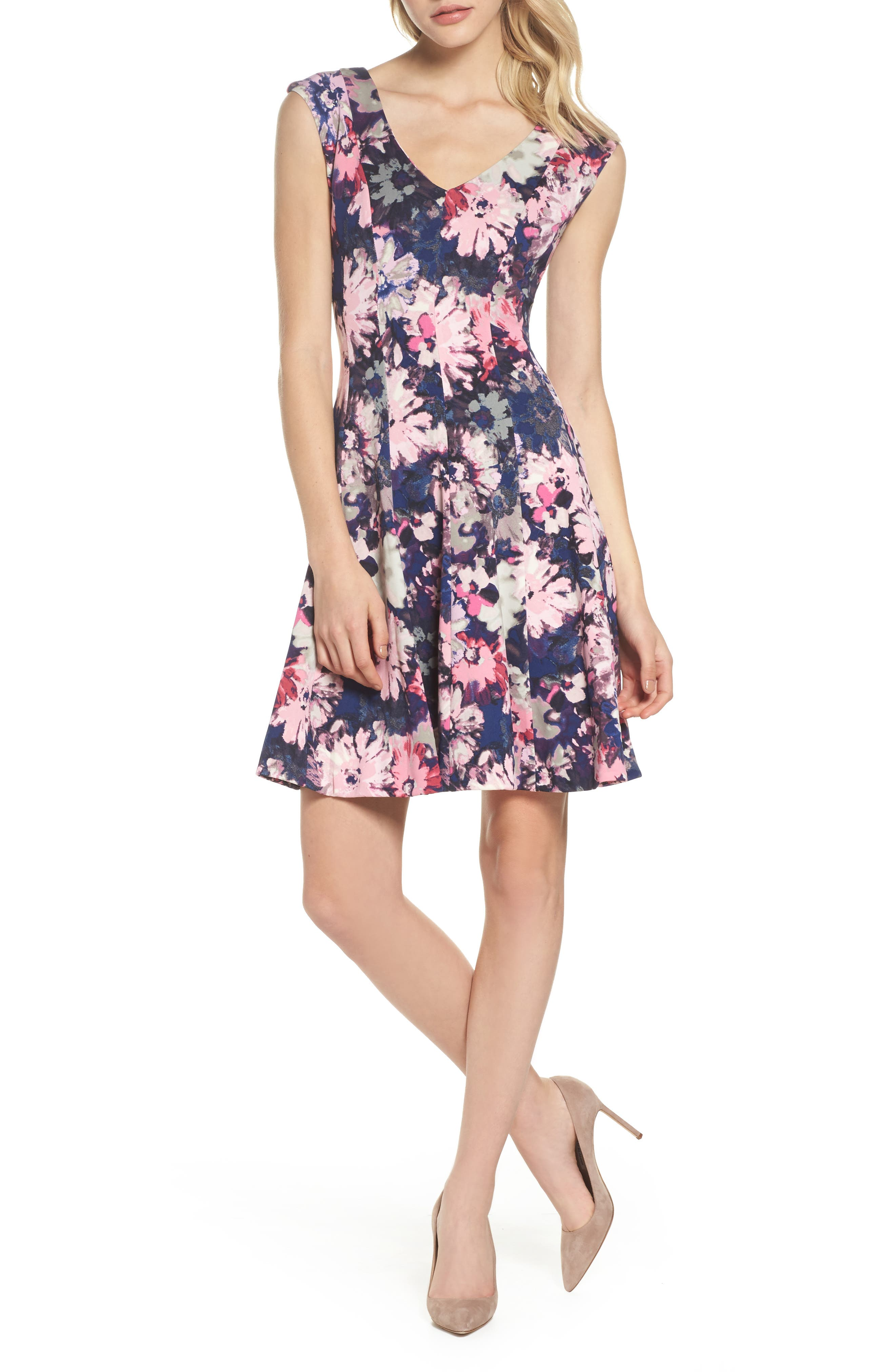 Fit & Flare Dress,                         Main,                         color, Navy Orchid