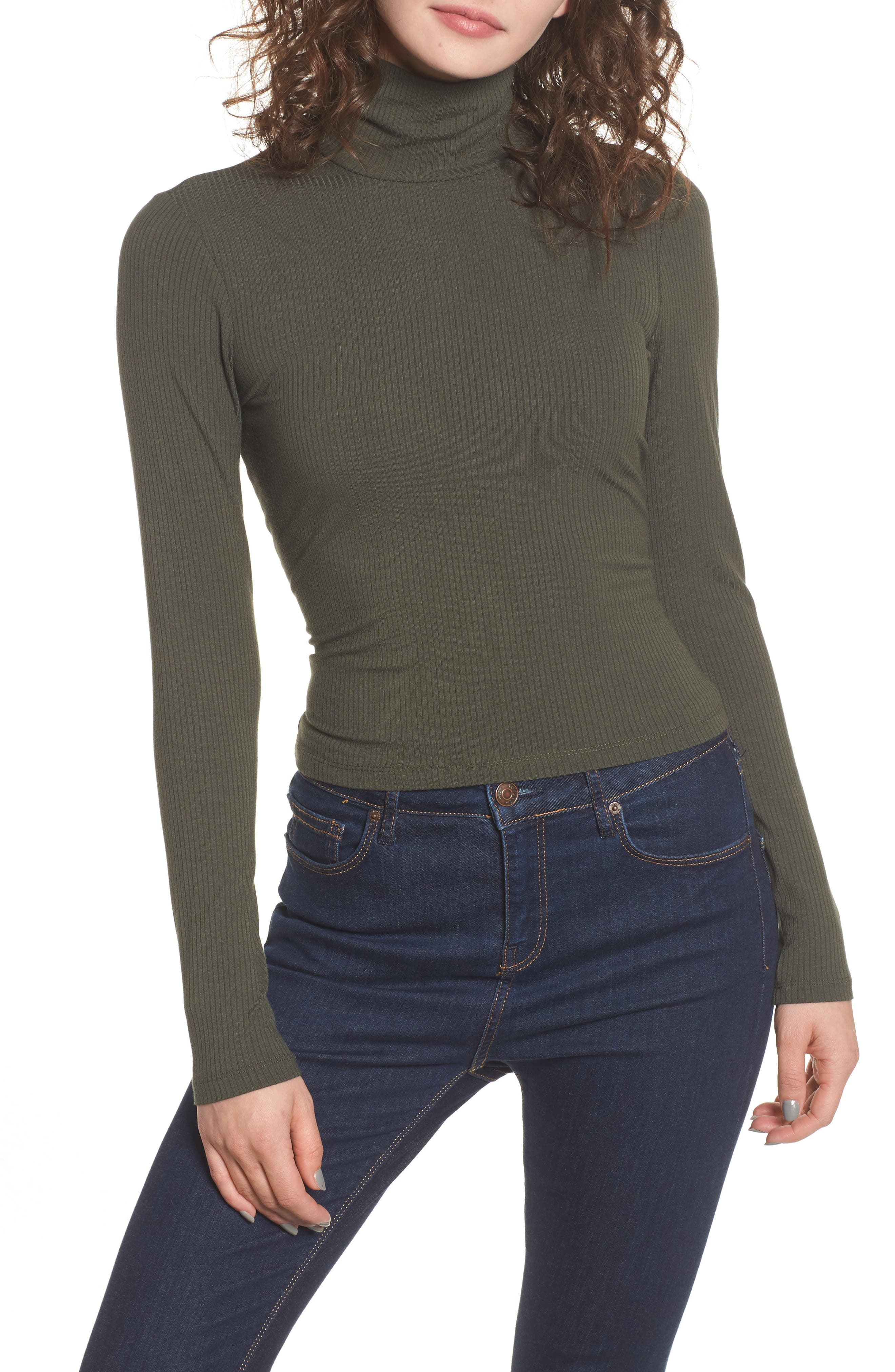 Mira Lace Up Turtleneck,                             Main thumbnail 1, color,                             Olive