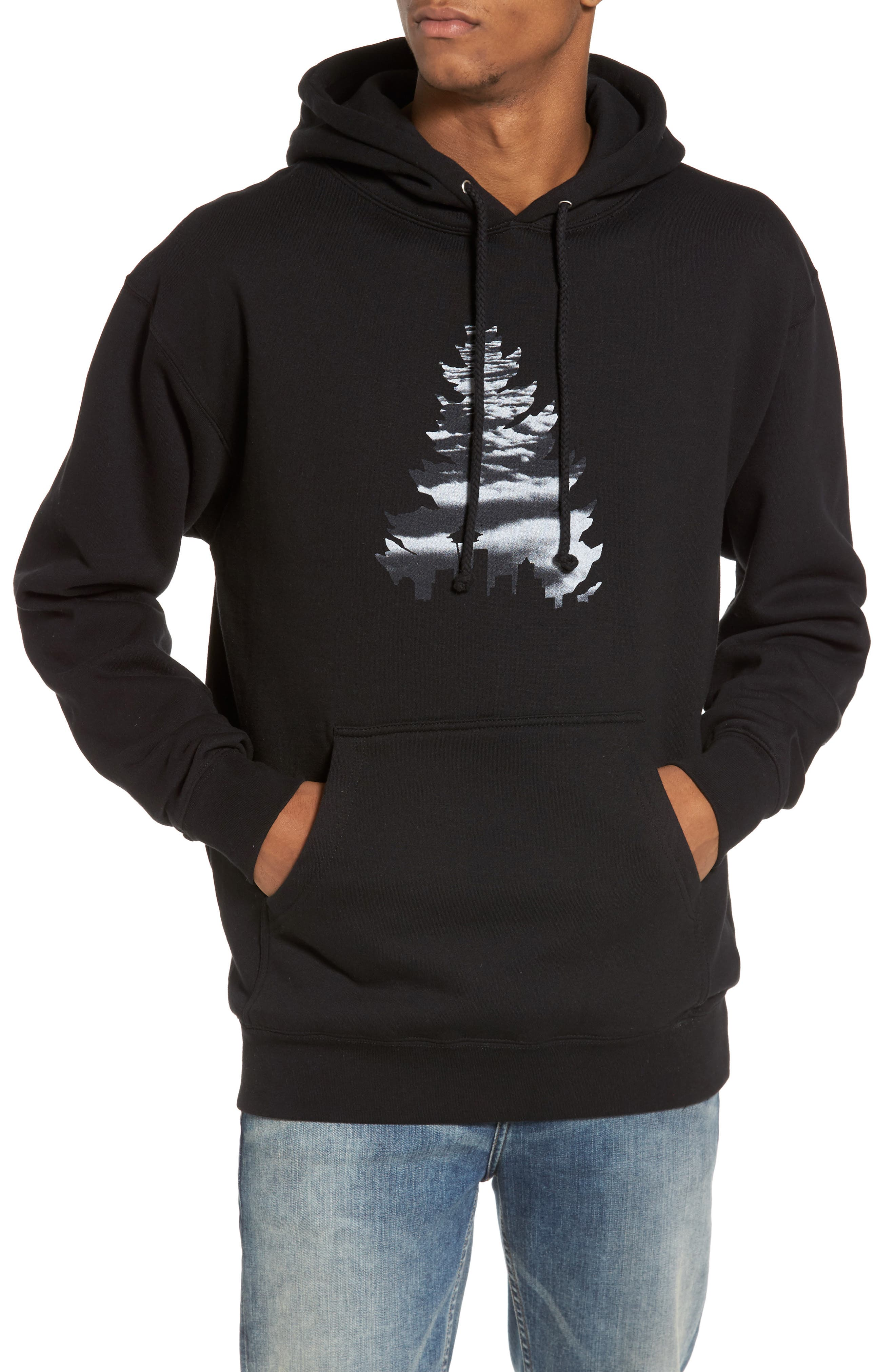 Johnny Tree above the Clouds Hoodie,                         Main,                         color, Black