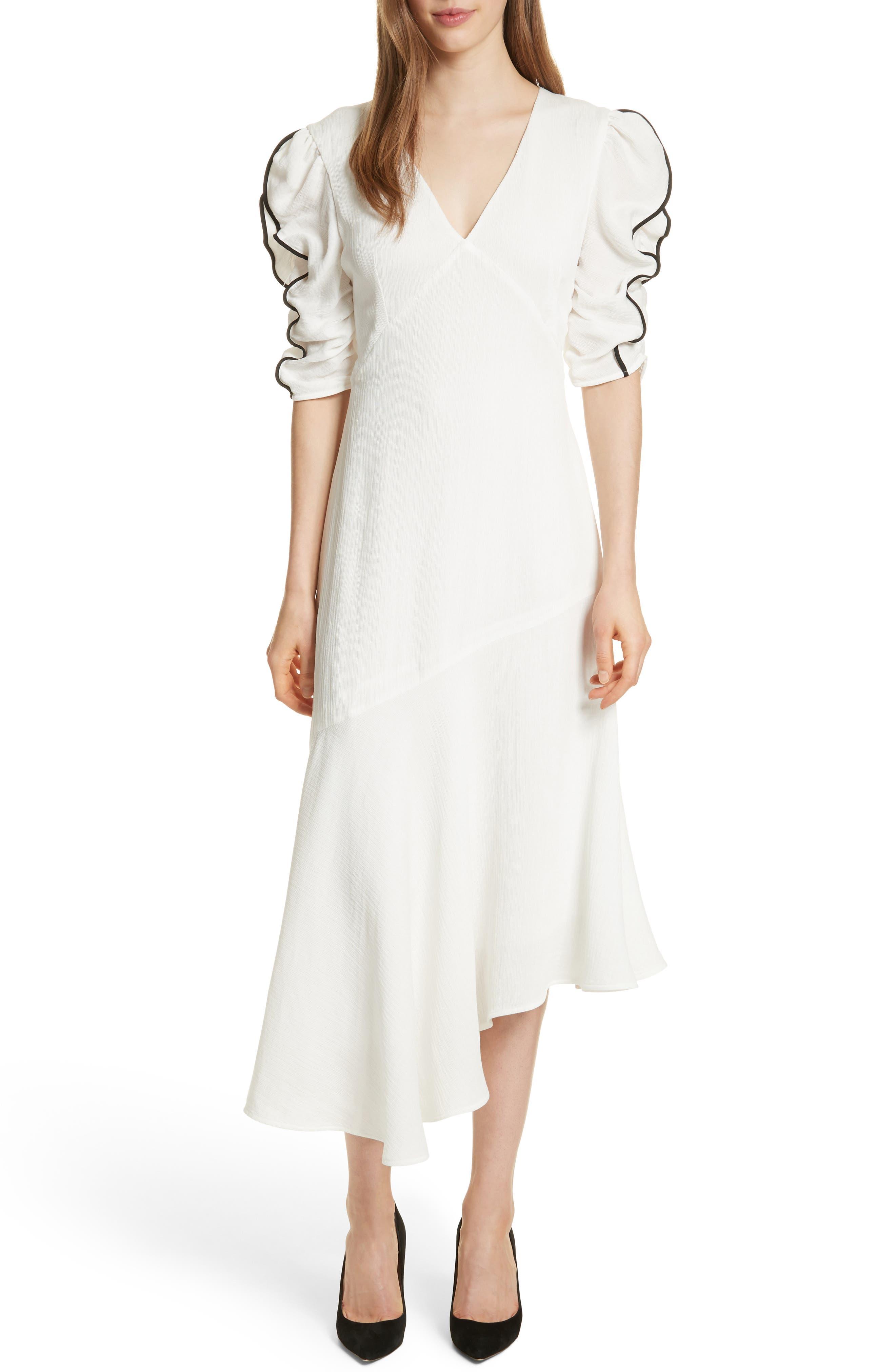 Prose & Poetry Shirley Ruffle Sleeve Midi Dress,                             Main thumbnail 1, color,                             Alabaster