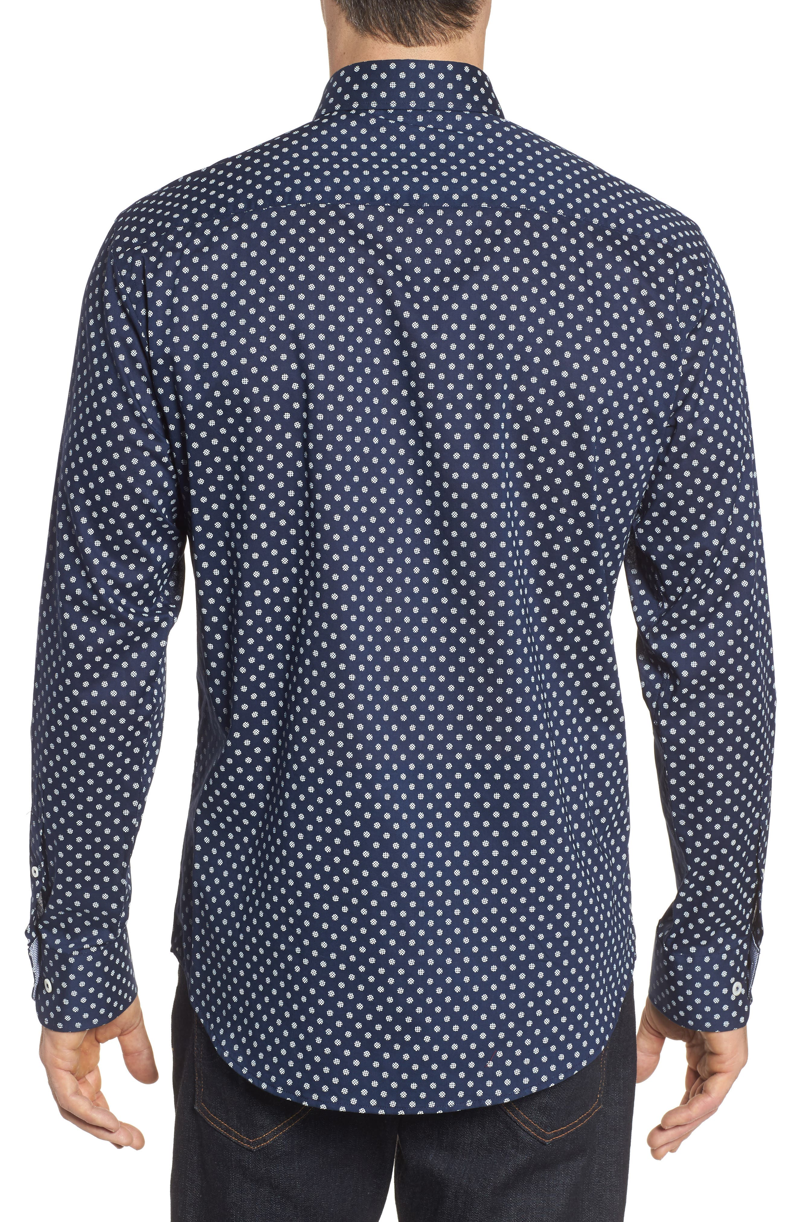 Alternate Image 2  - Bugatchi Shaped Fit Print Sport Shirt