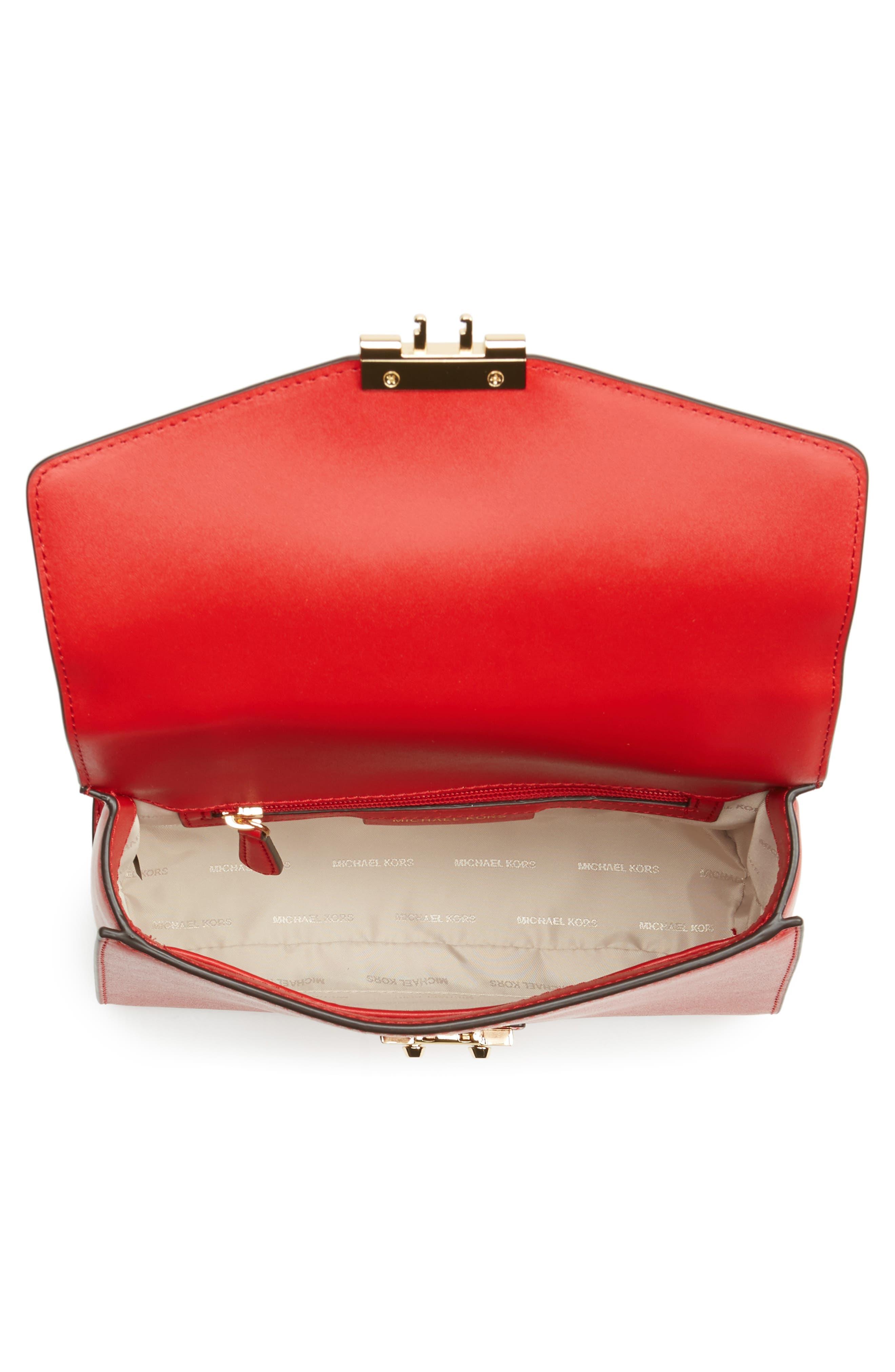 MICHAEL Michael Kors Medium Sloan Leather Satchel,                             Alternate thumbnail 4, color,                             Bright Red
