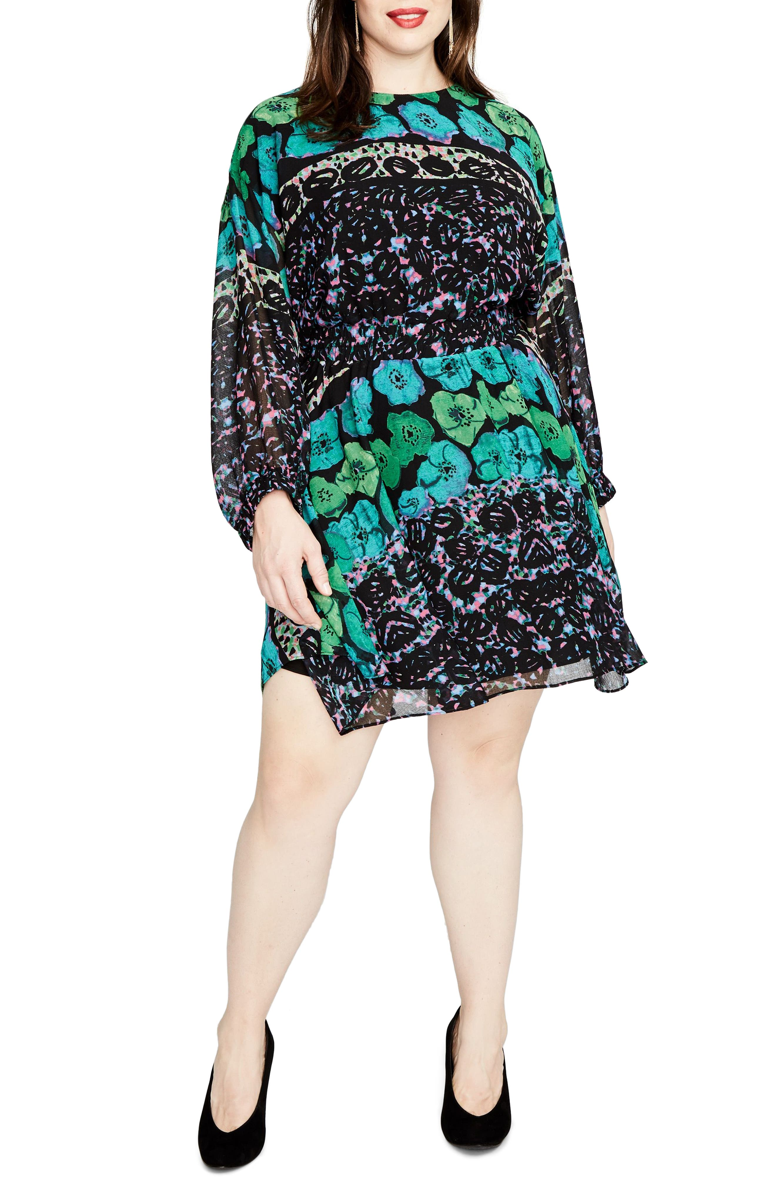 Easy Floral Dress,                             Main thumbnail 1, color,                             Rainforest Green Combo