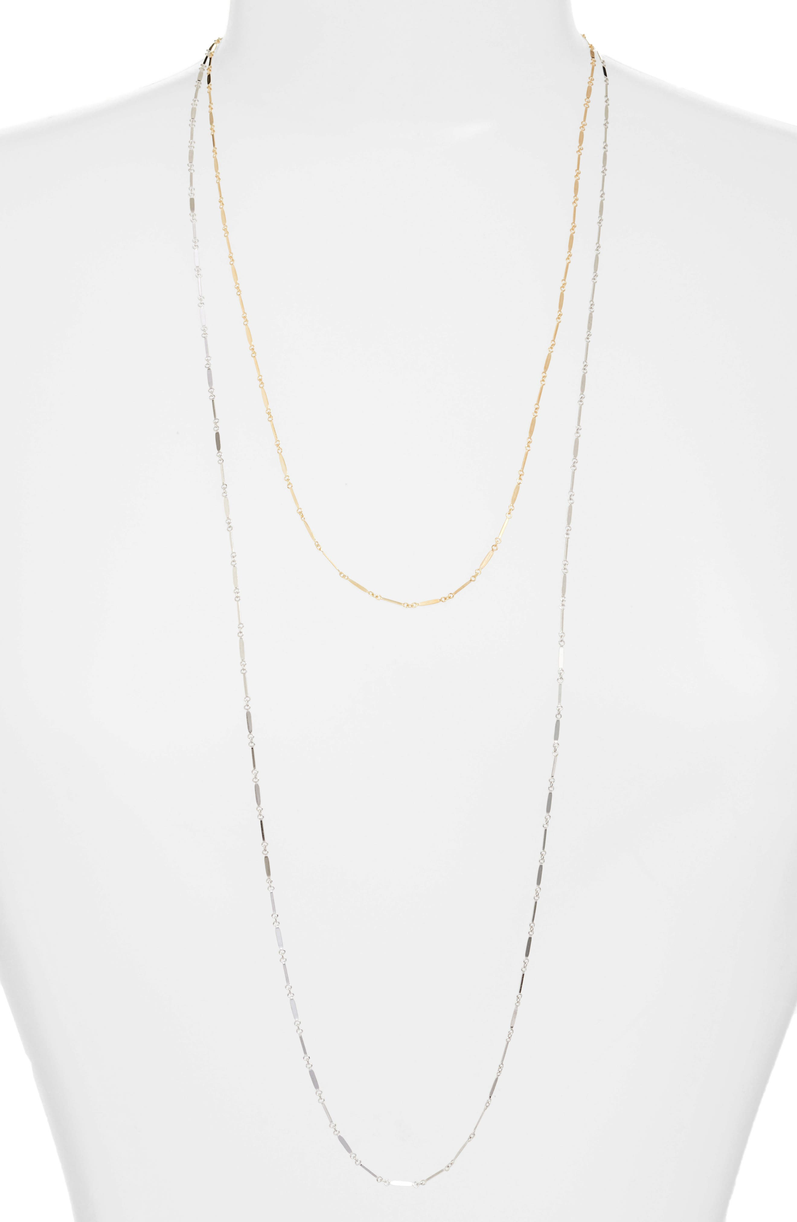 Two-Tone Mirror Multistrand Necklace,                         Main,                         color, Gold/ Silver