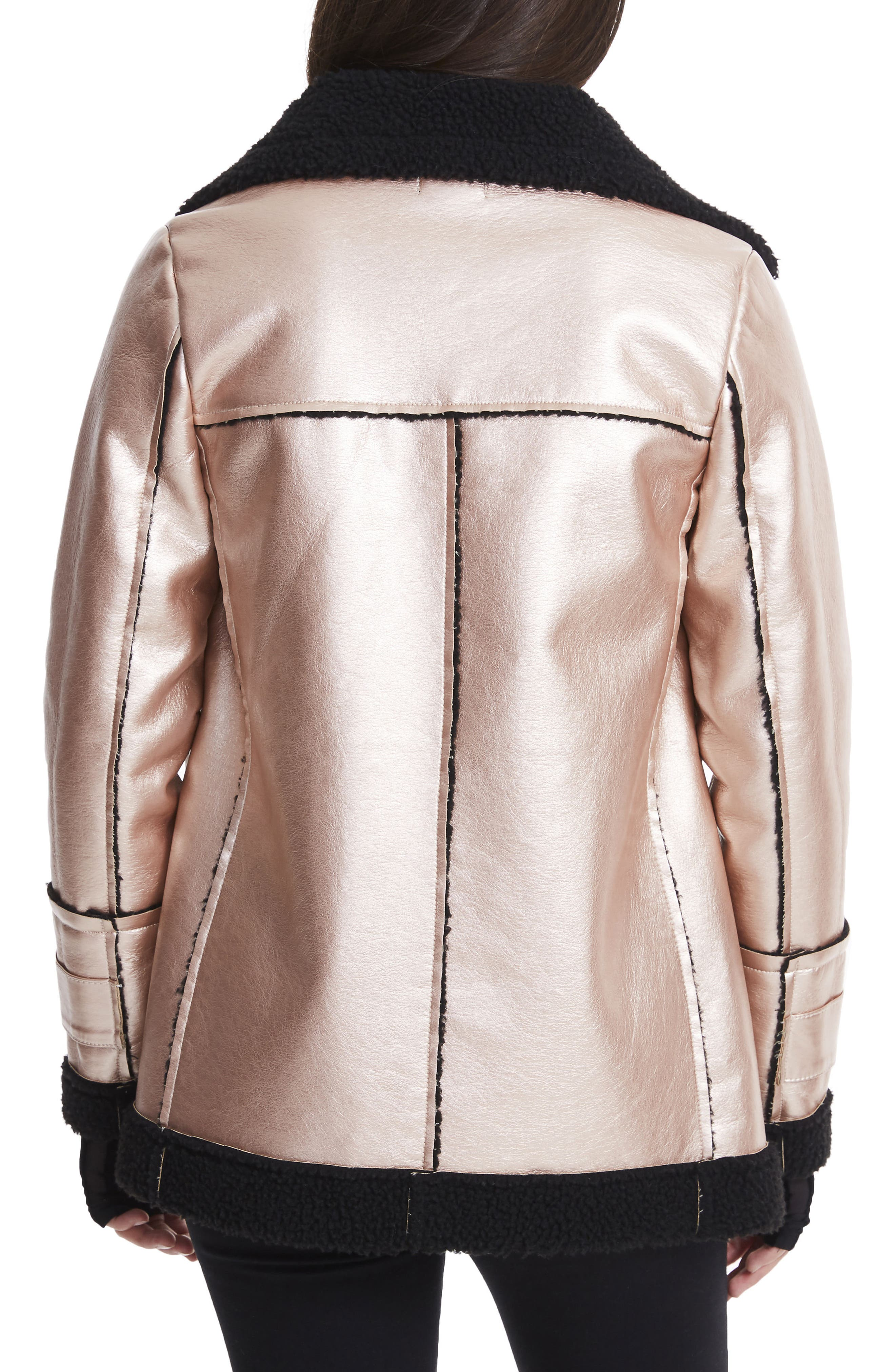 Ophelia Oversize Faux Shearling Jacket,                             Alternate thumbnail 2, color,                             Metallic