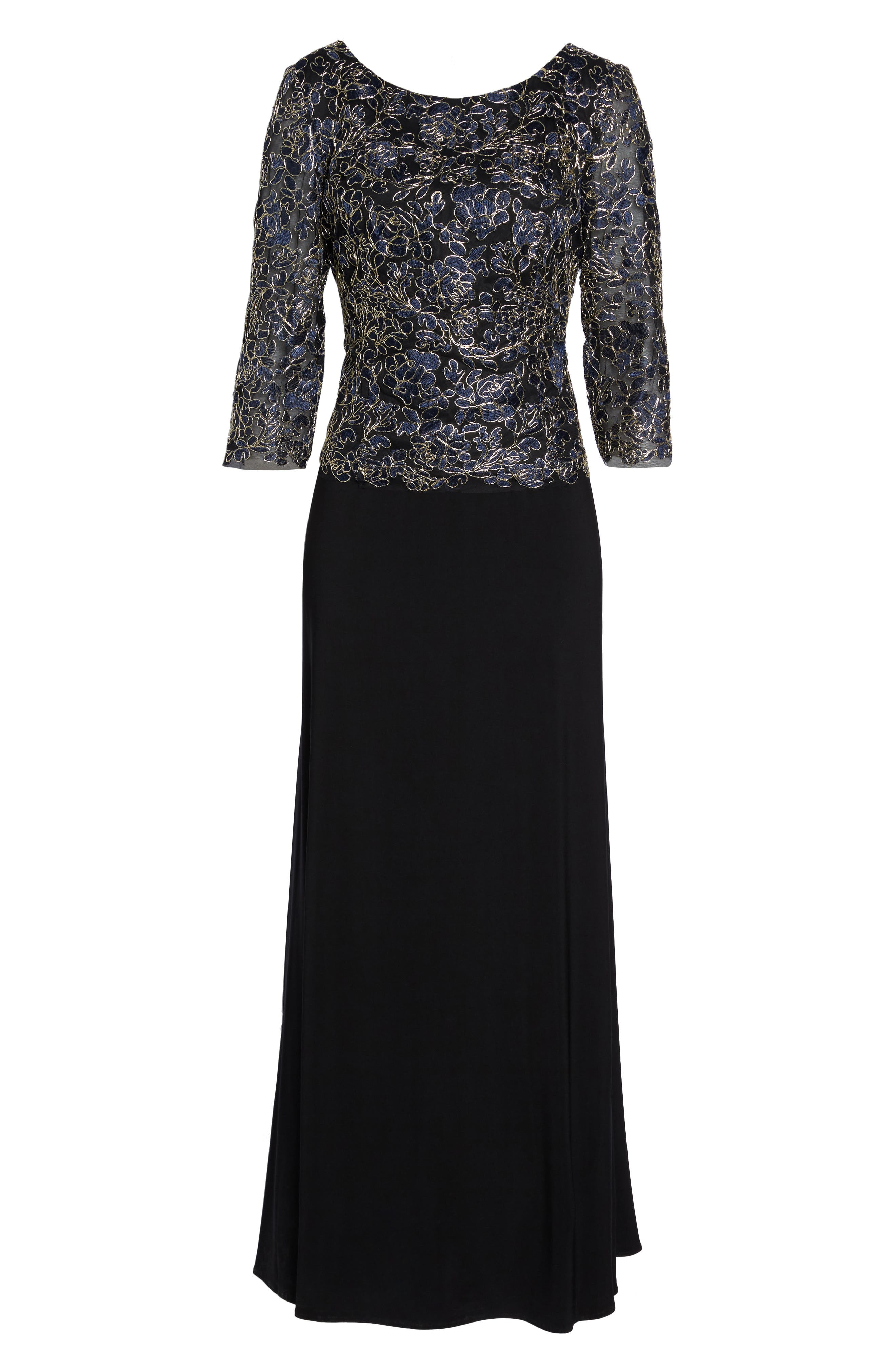 Embroidered Lace Mock Two-Piece Dress,                             Alternate thumbnail 6, color,                             Navy/ Gold