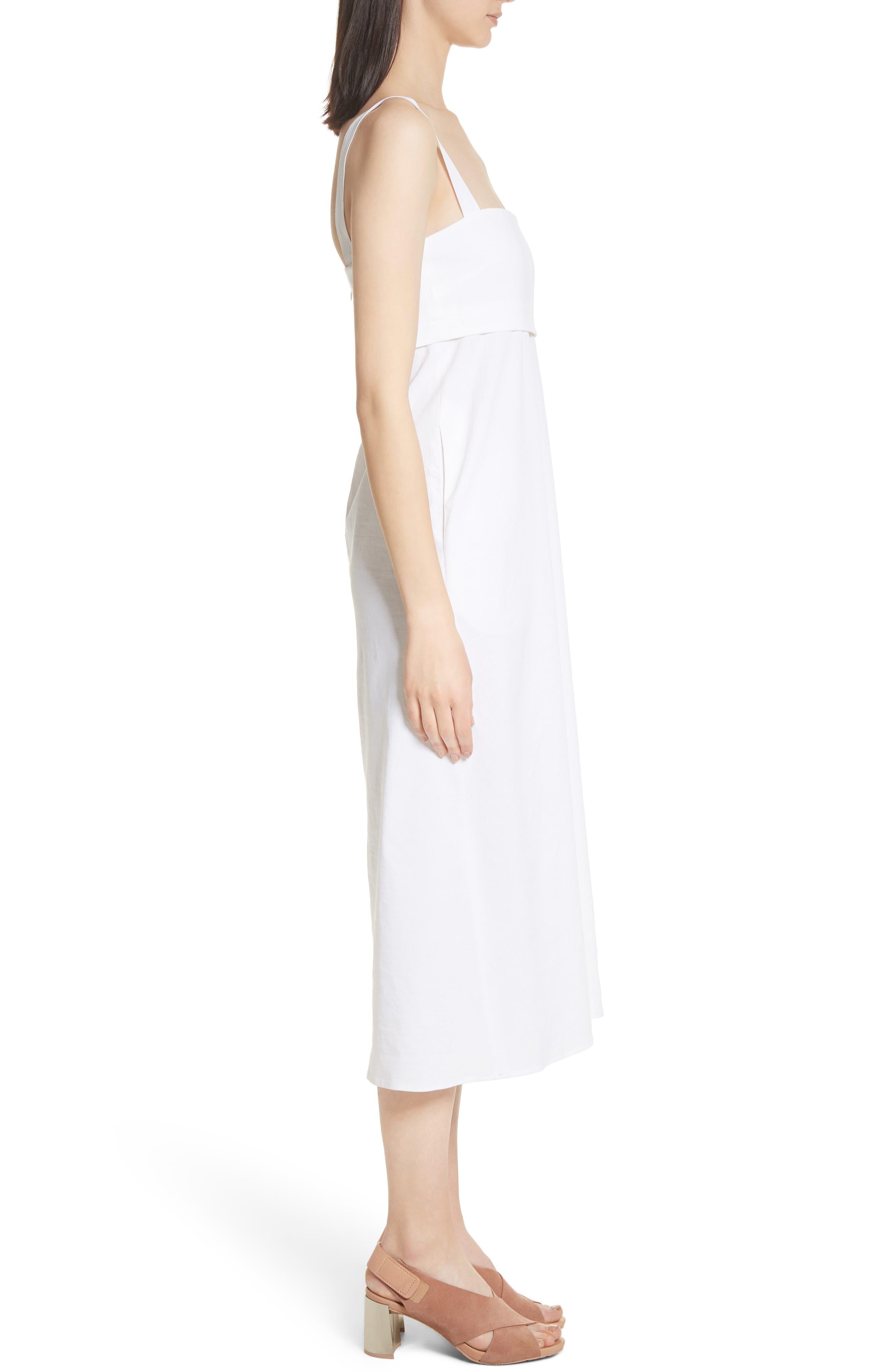 Empire Waist Midi Dress,                             Alternate thumbnail 3, color,                             White
