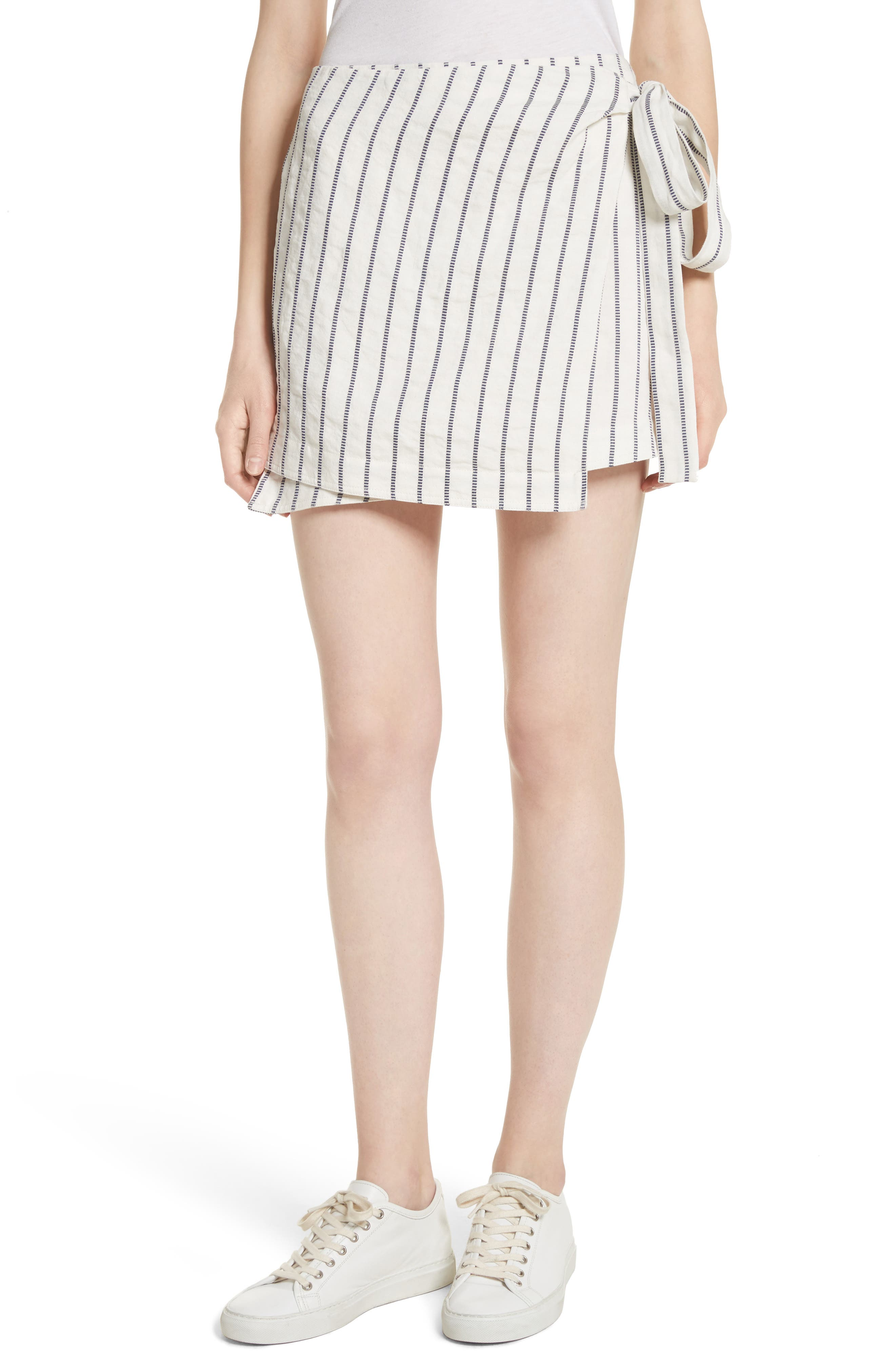 Tie Wrap Stripe Miniskirt,                         Main,                         color, Blue/ Ivory