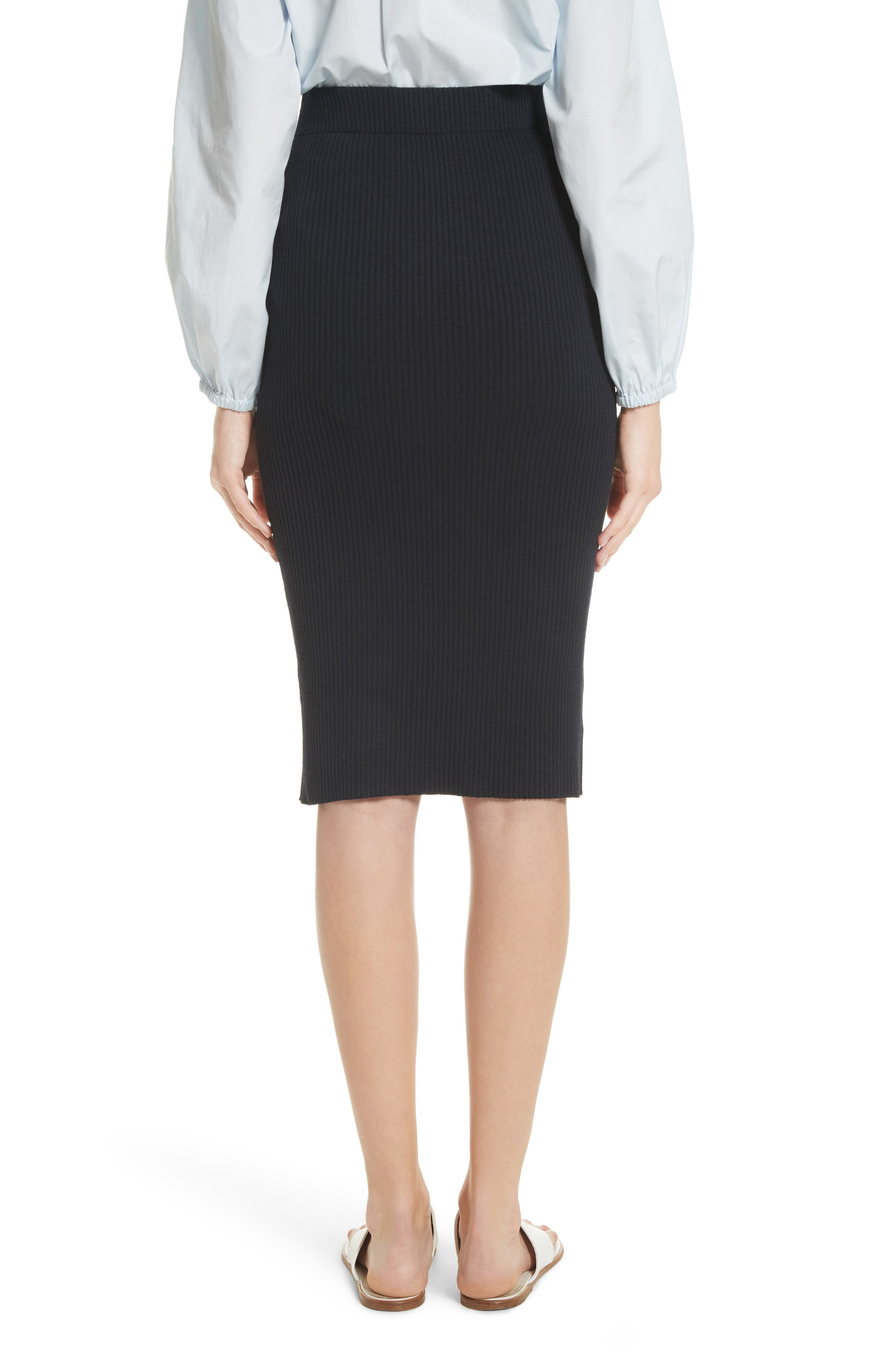 Ribbed Pencil Skirt,                             Alternate thumbnail 2, color,                             Coastal