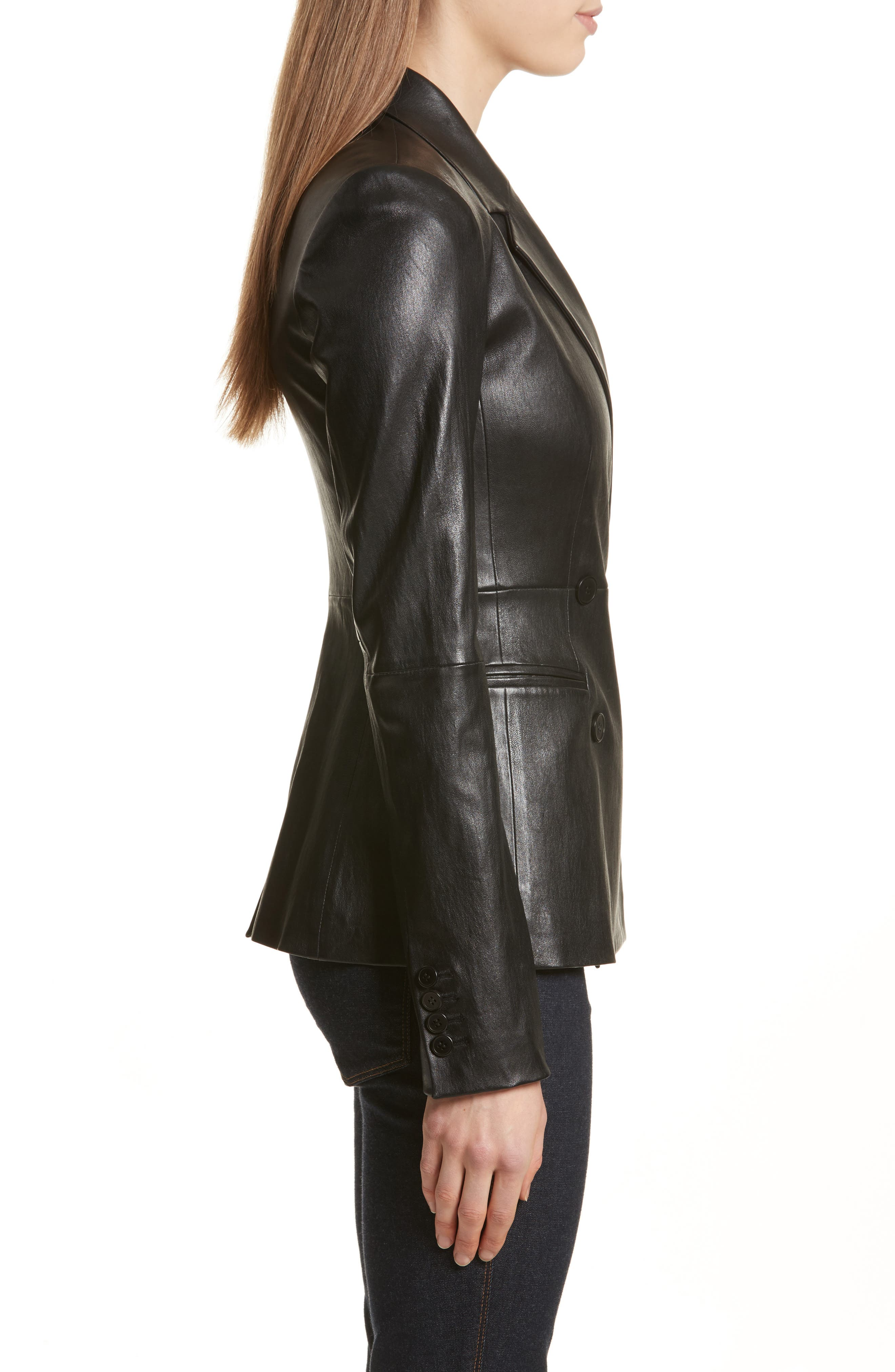 Bristol Leather Blazer,                             Alternate thumbnail 3, color,                             Black