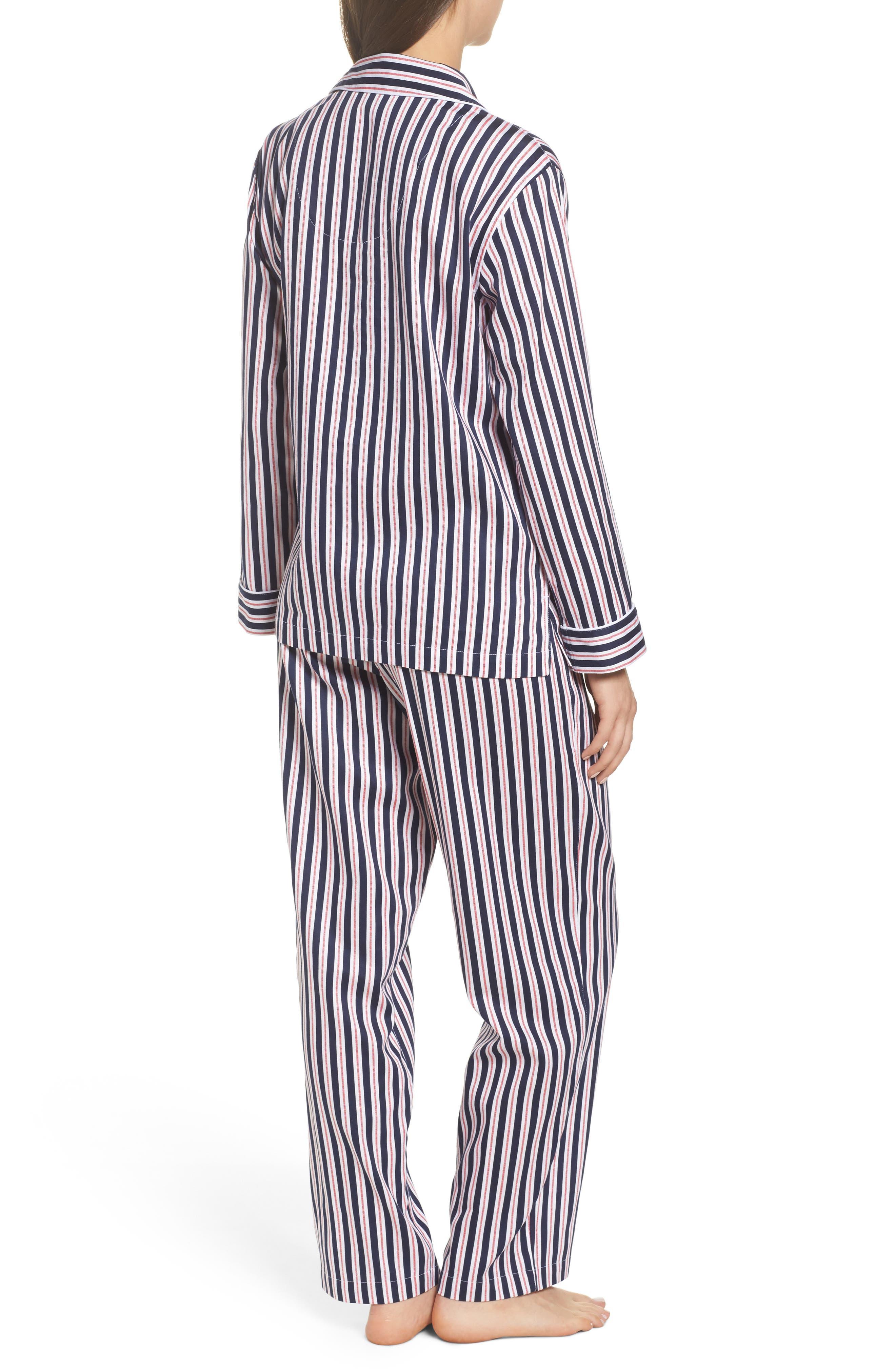 Sateen Pajamas,                             Alternate thumbnail 2, color,                             Navy Stripe