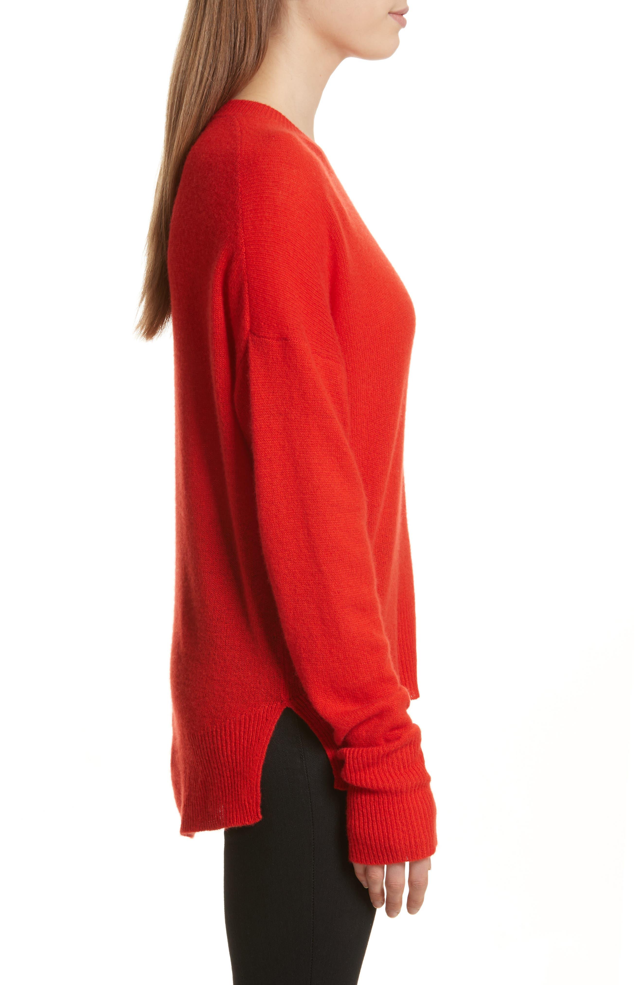Karenia L Cashmere Sweater,                             Alternate thumbnail 3, color,                             Bight Tomato