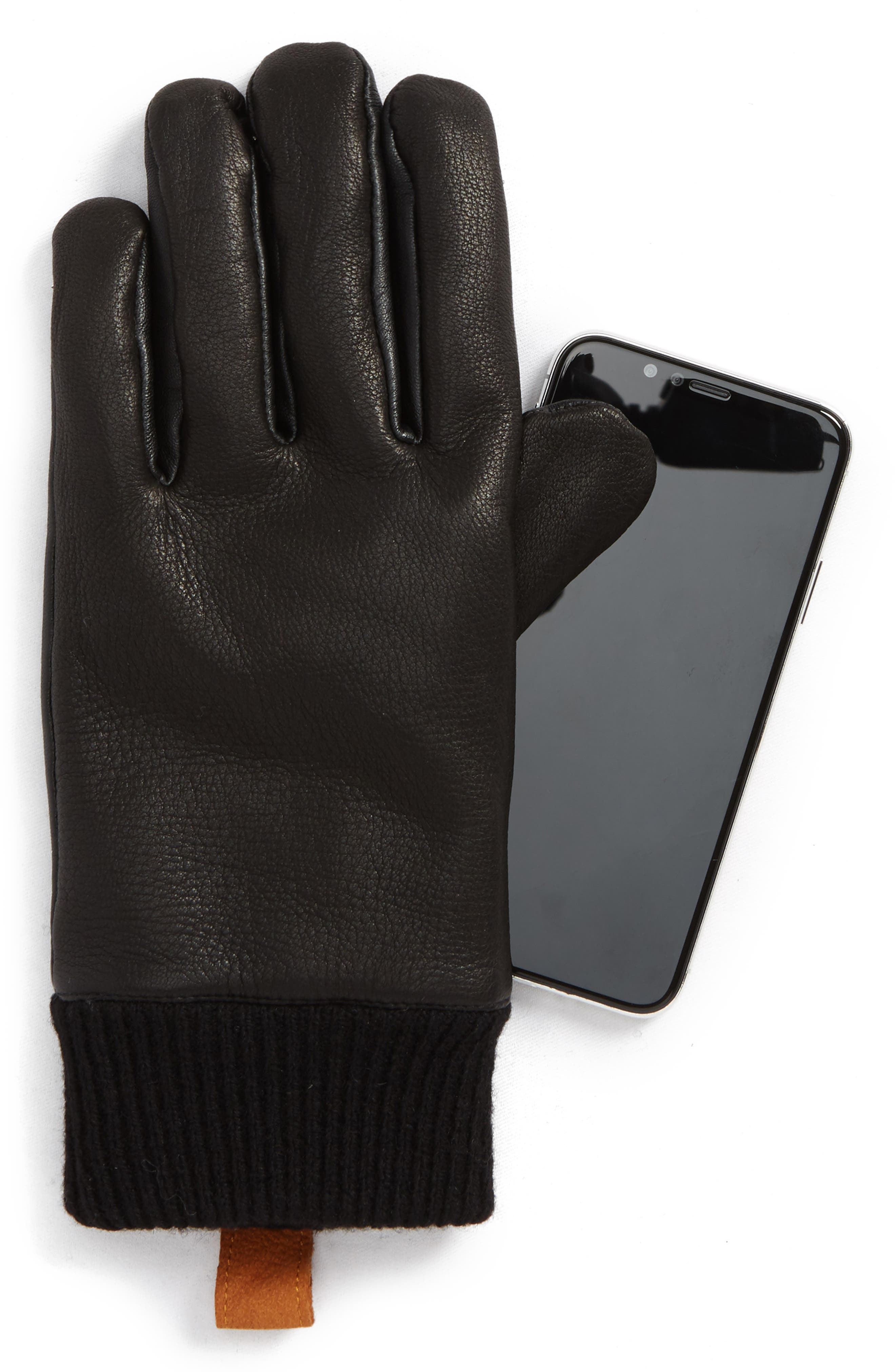 Smart Genuine Shearling Leather Gloves,                             Alternate thumbnail 3, color,                             Black