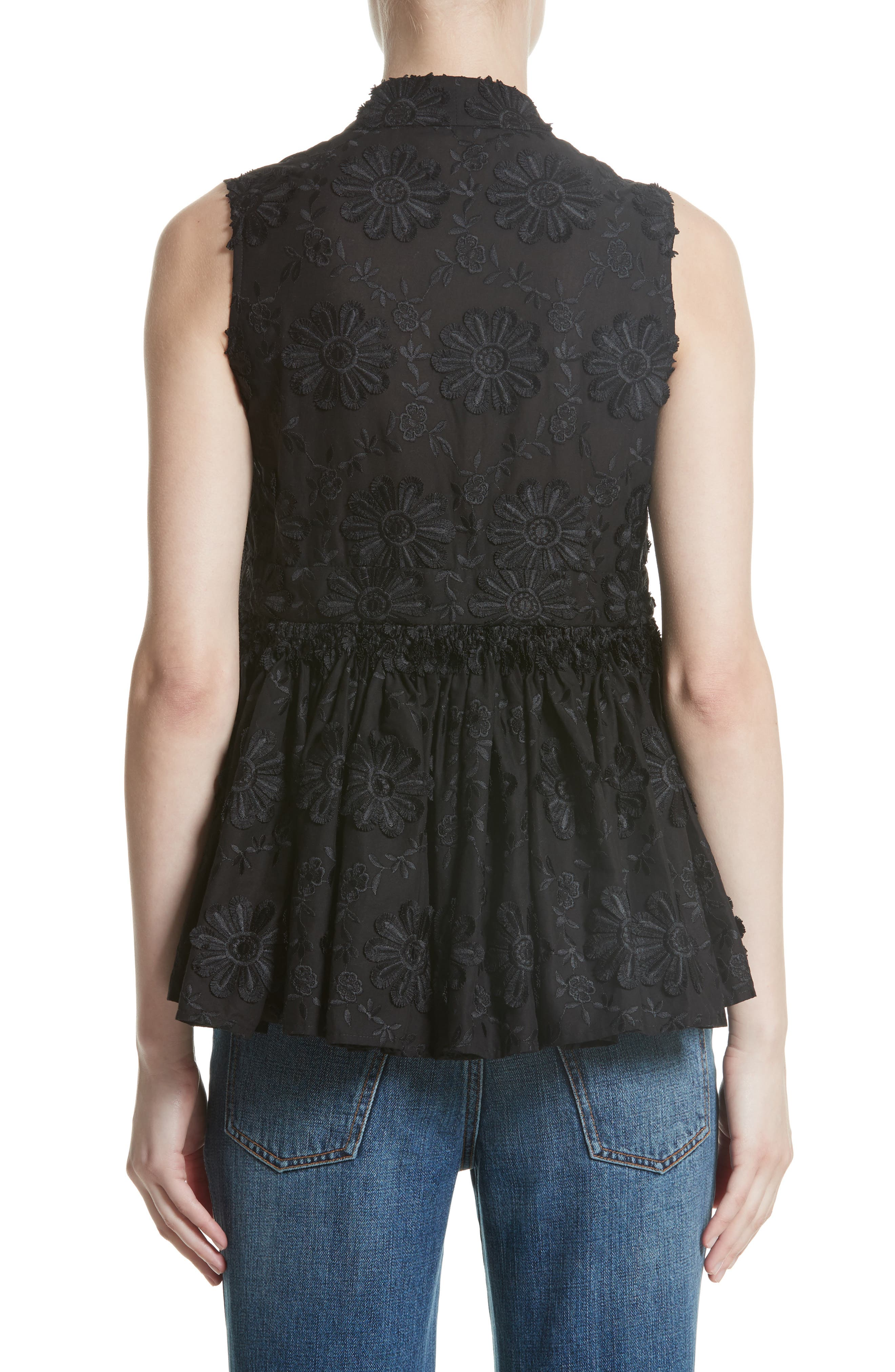 Floral Embroidered Peplum top,                             Alternate thumbnail 2, color,                             Black