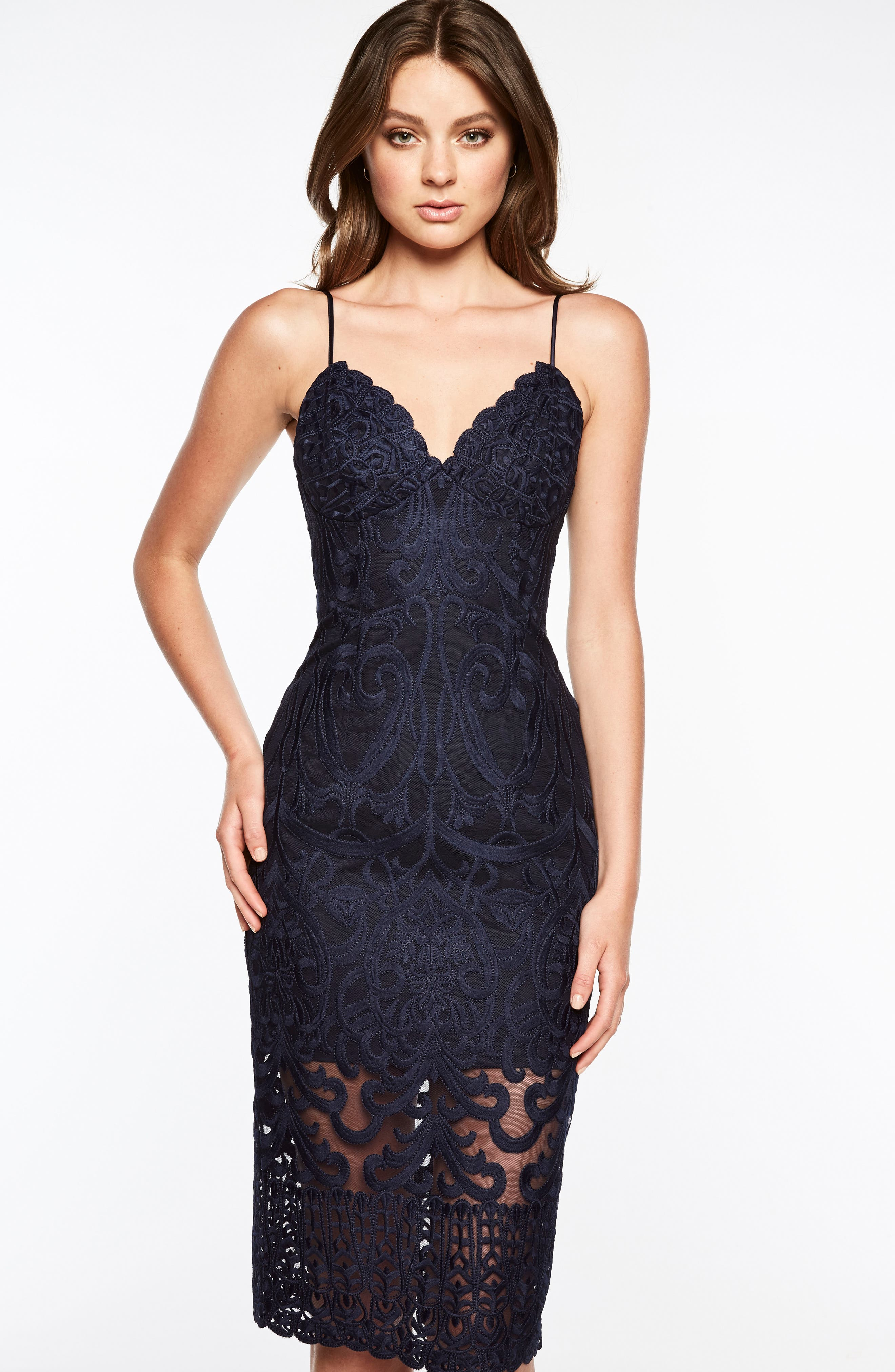 Gia Lace Pencil Dress,                             Alternate thumbnail 5, color,                             Navy