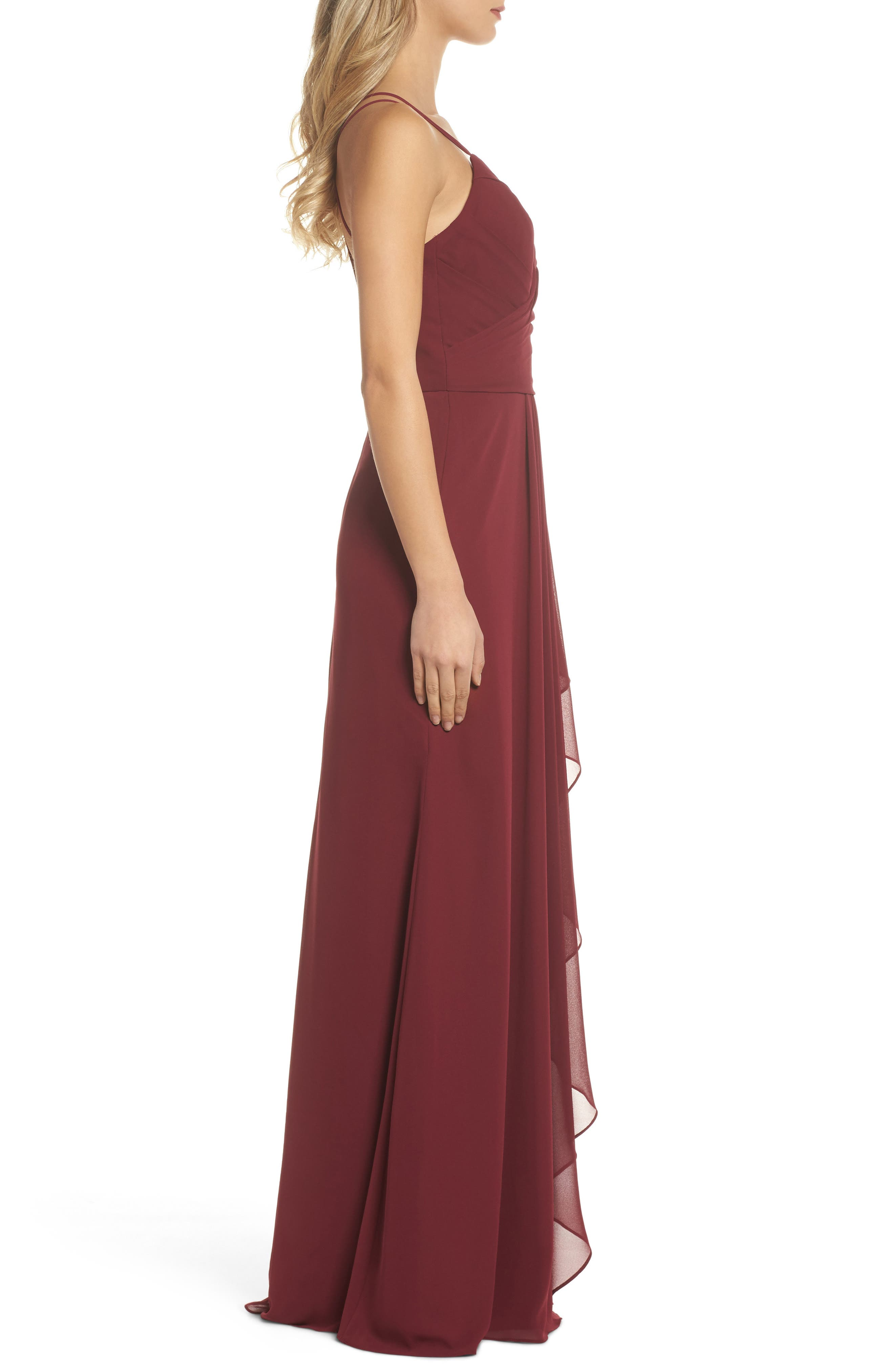 Chiffon Gown,                             Alternate thumbnail 3, color,                             Burgundy