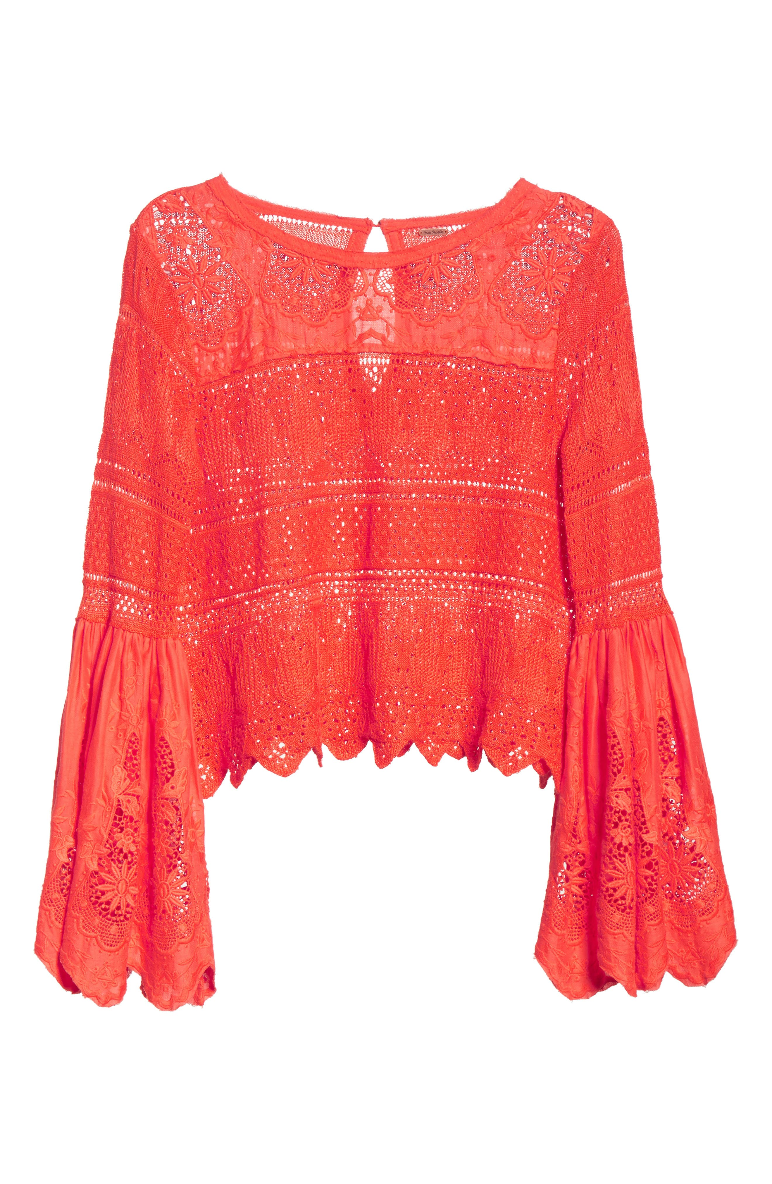 Once Upon a Time Lace Top,                             Alternate thumbnail 5, color,                             Red