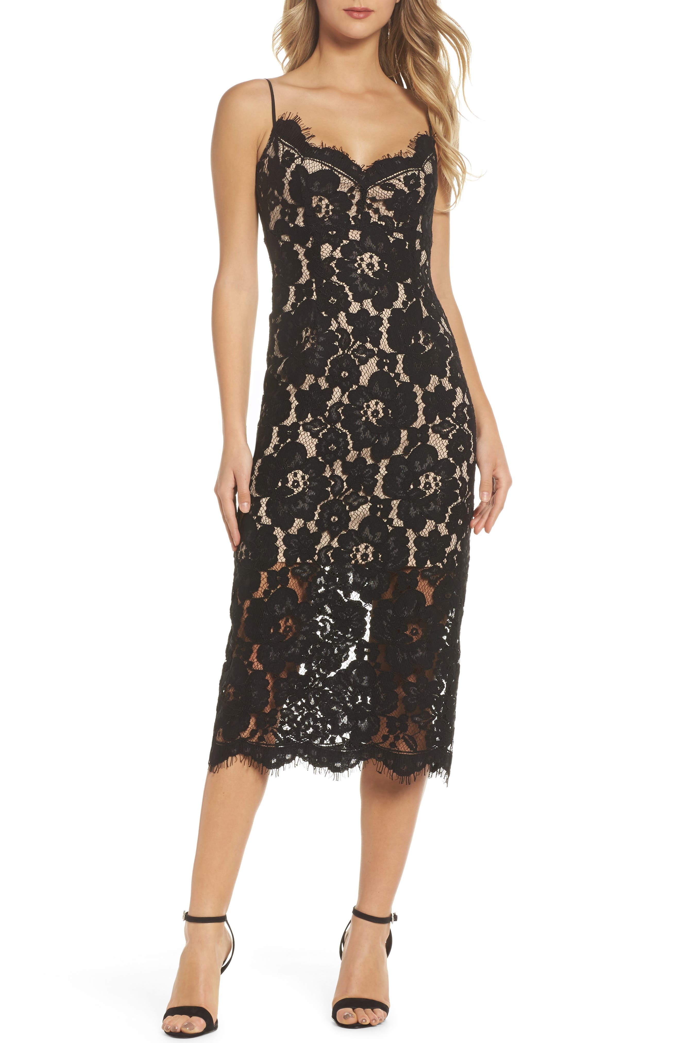 Alternate Image 1 Selected - NSR Lace Midi Slipdress