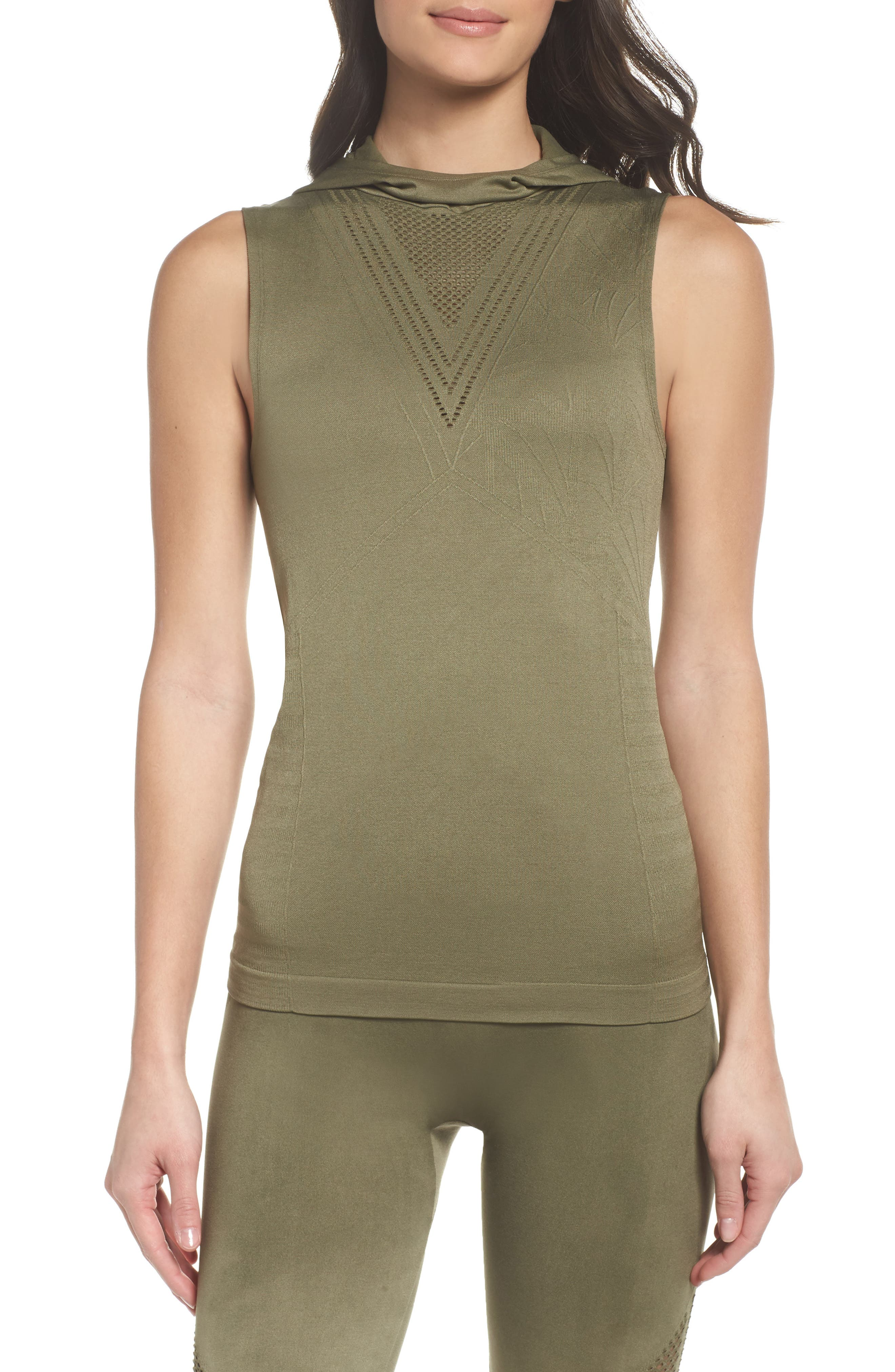 Velocity Sleeveless Hoodie,                         Main,                         color, Deep Lichen Green