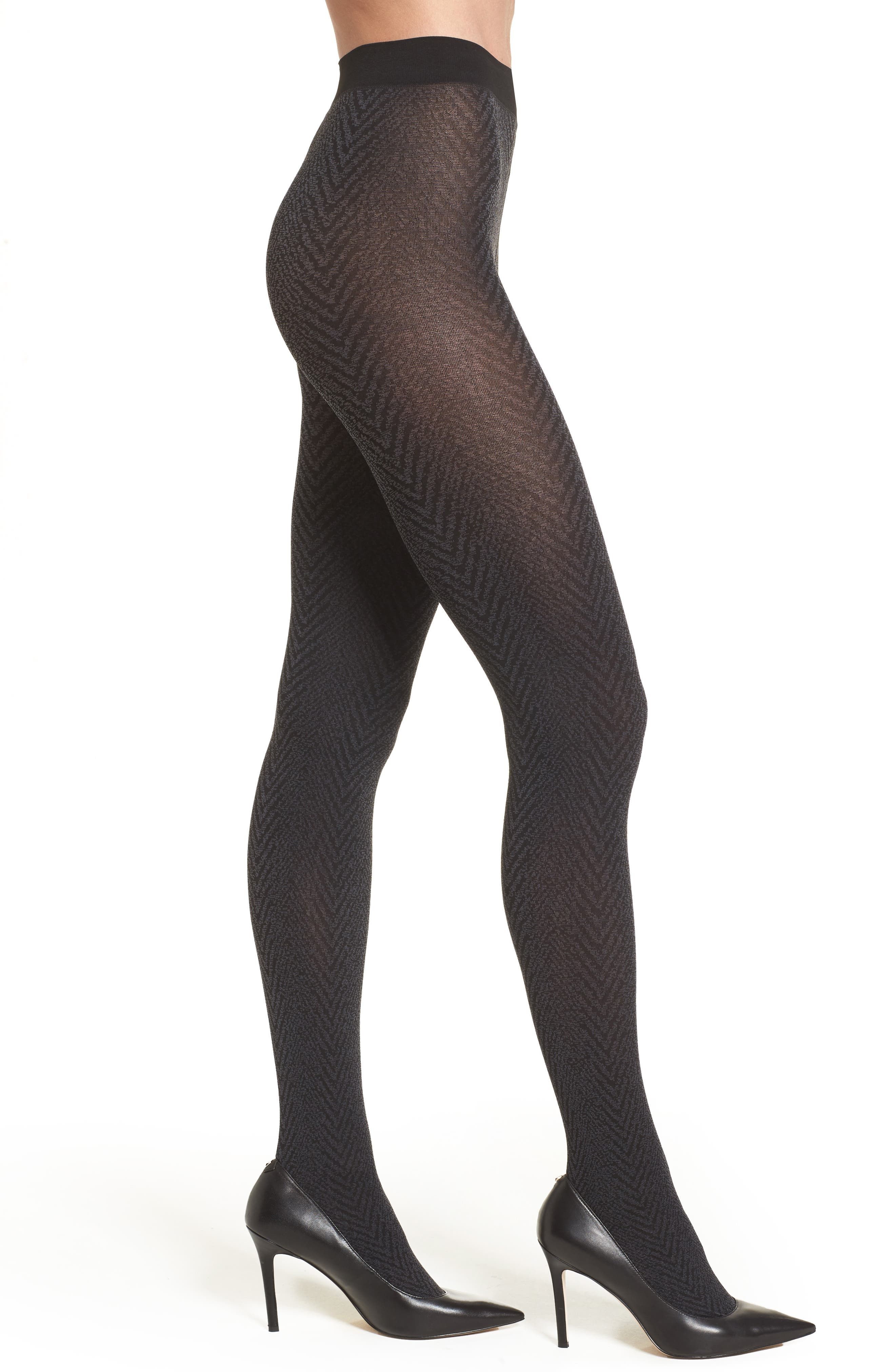 Blanca Herringbone Tights,                         Main,                         color, Black