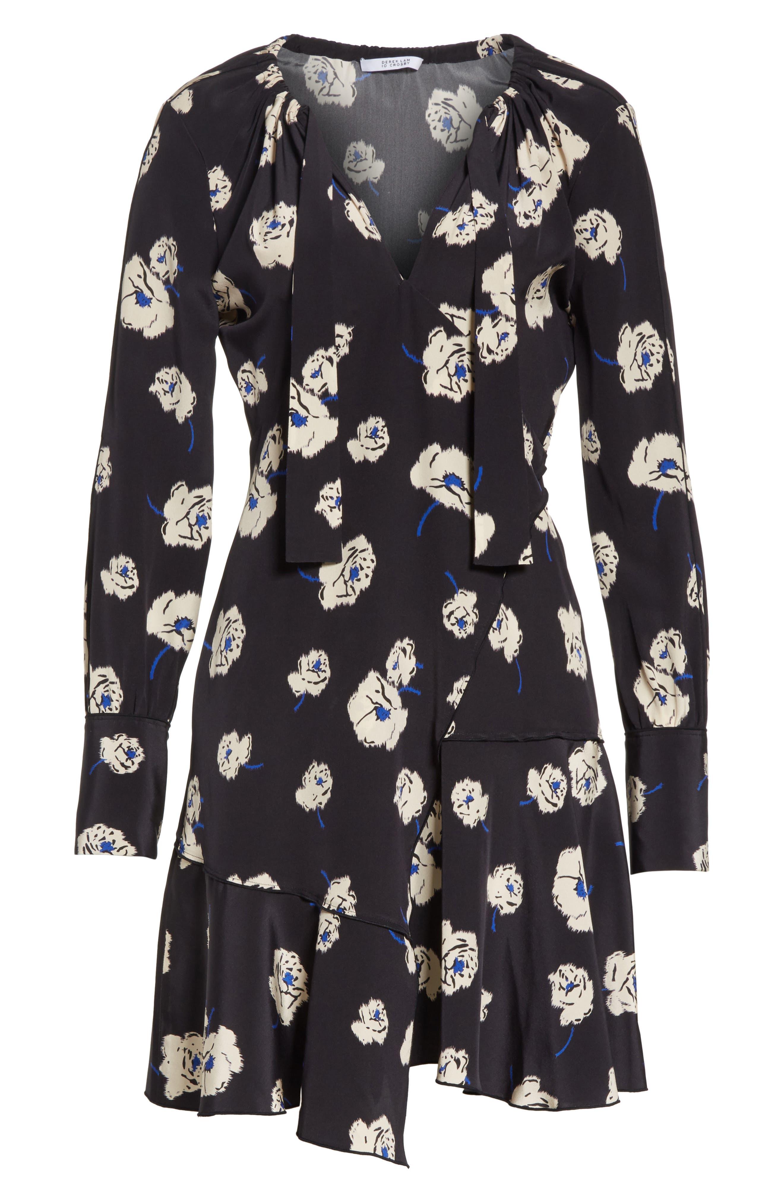 Floral Ruffle Silk Dress,                             Alternate thumbnail 6, color,                             Black