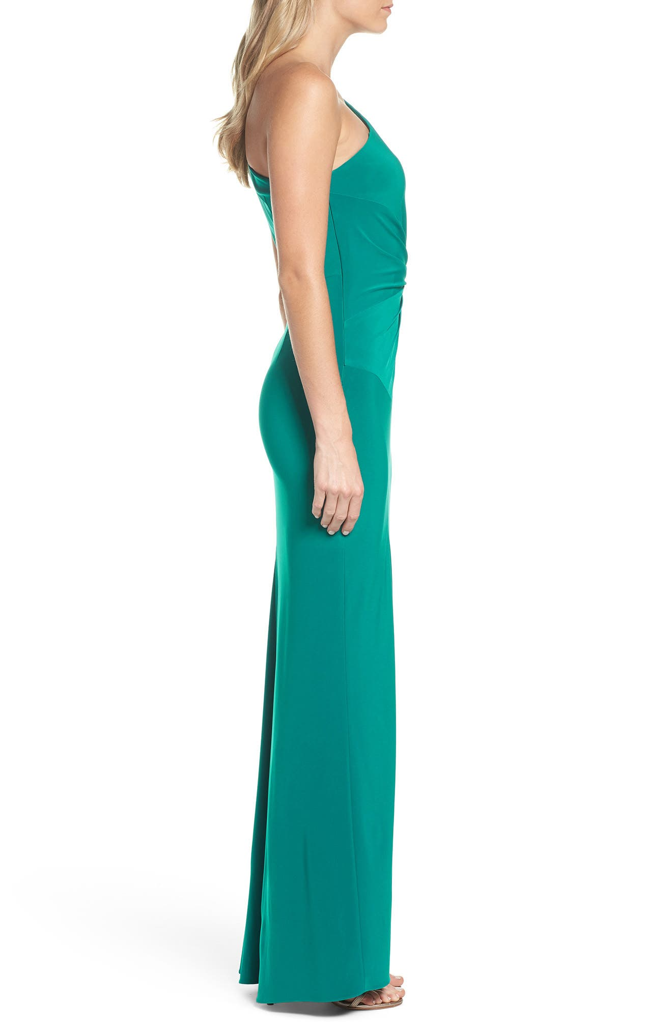 Alternate Image 3  - Adrianna Papell One-Shoulder Jersey Gown